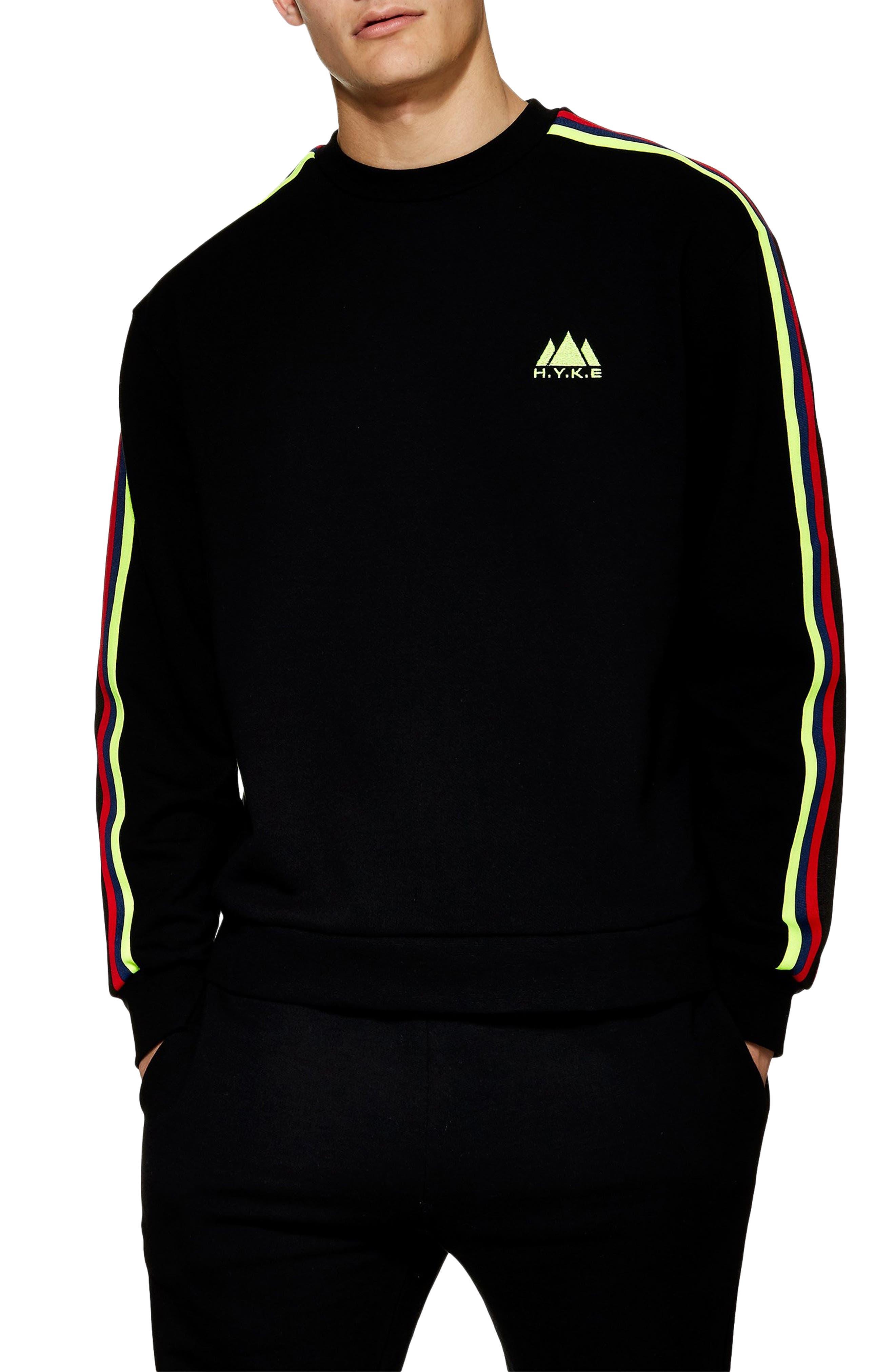 Topman H.y.k.e Tape Crewneck Sweatshirt, Black