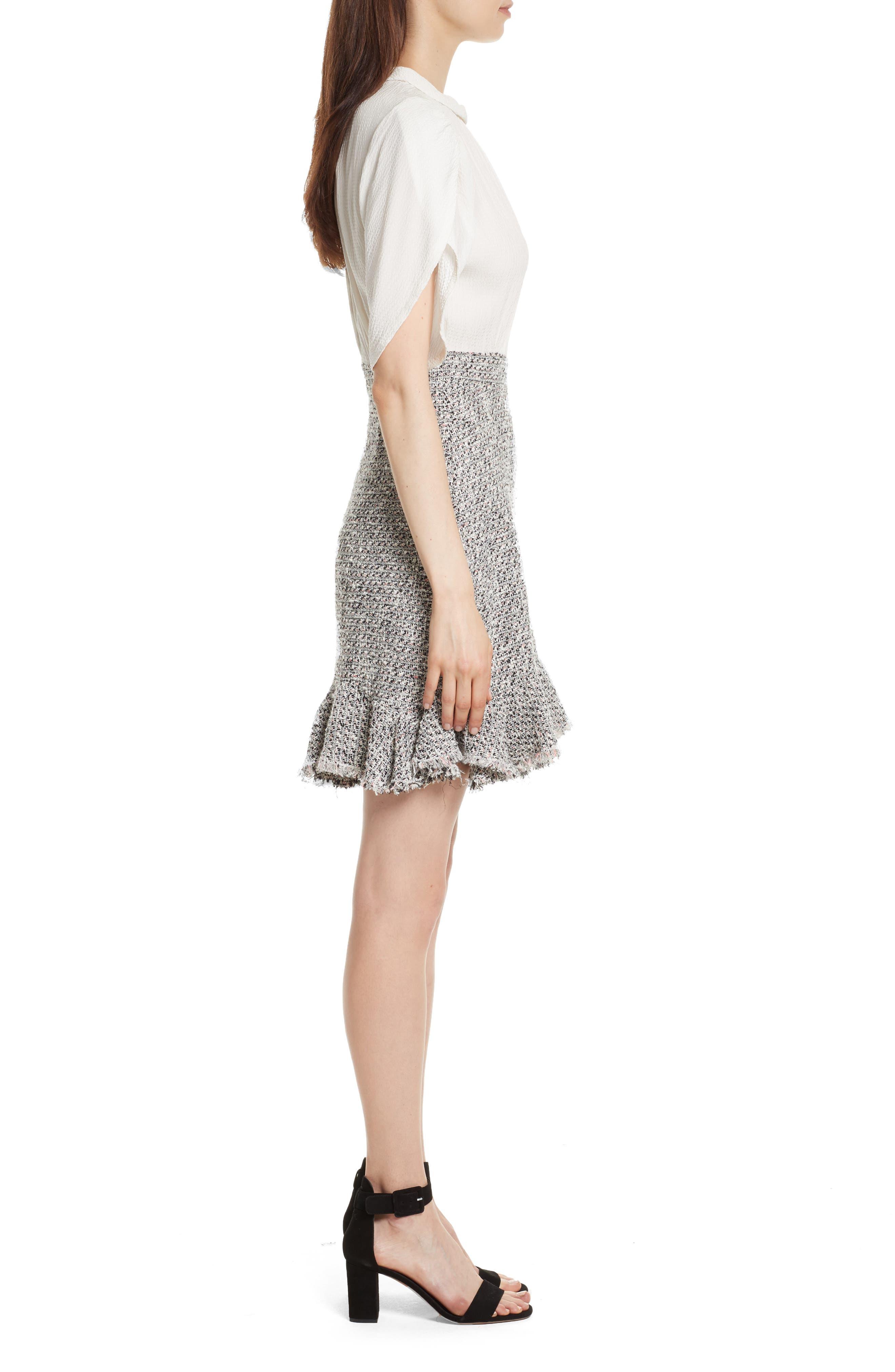 Silk & Tweed A-Line Dress,                             Alternate thumbnail 3, color,