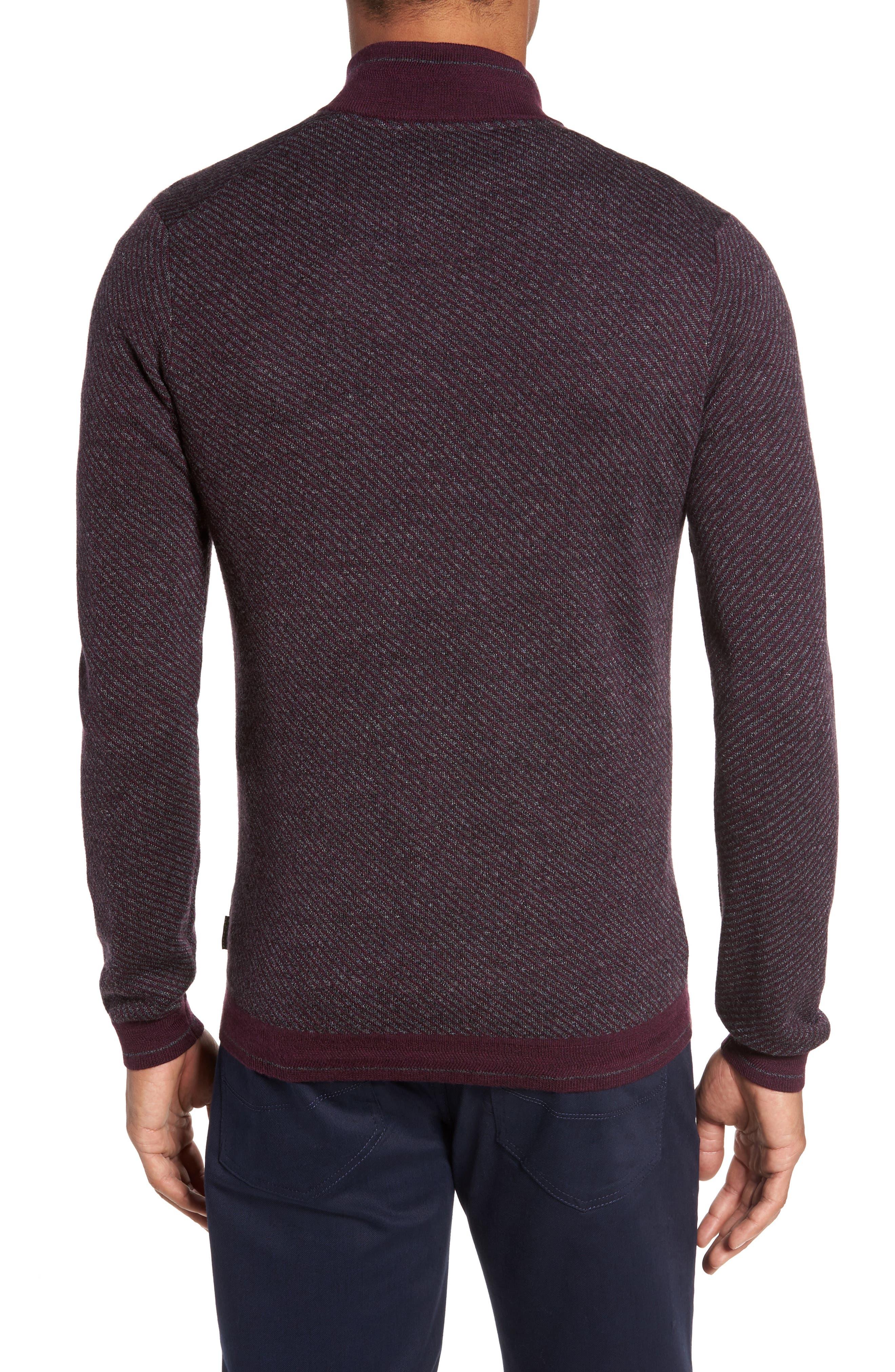 Stripe Quarter Zip Sweater,                             Alternate thumbnail 4, color,