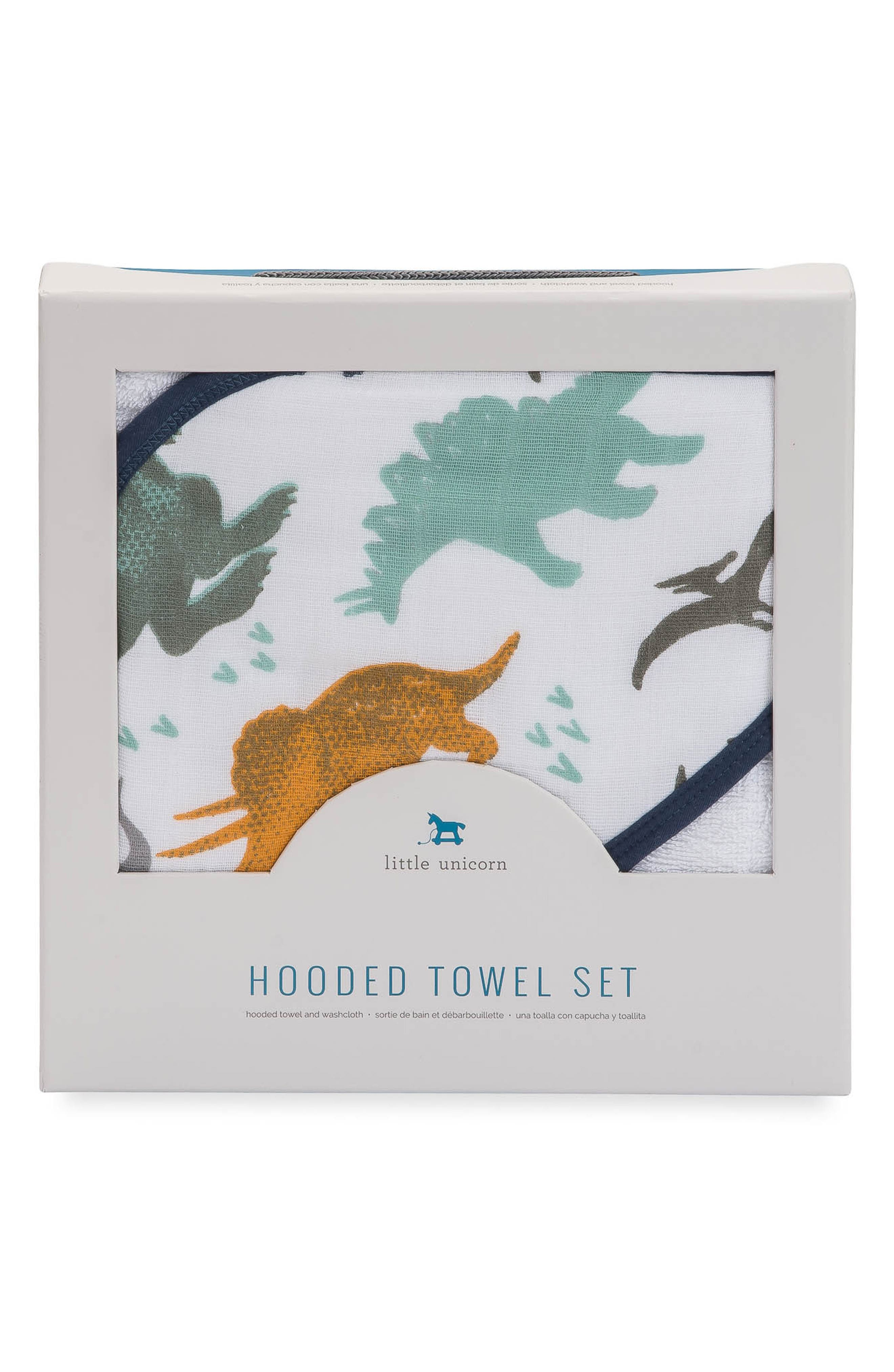 LITTLE UNICORN,                             Hooded Towel and Washcloth Set,                             Alternate thumbnail 2, color,                             DINO FRIENDS