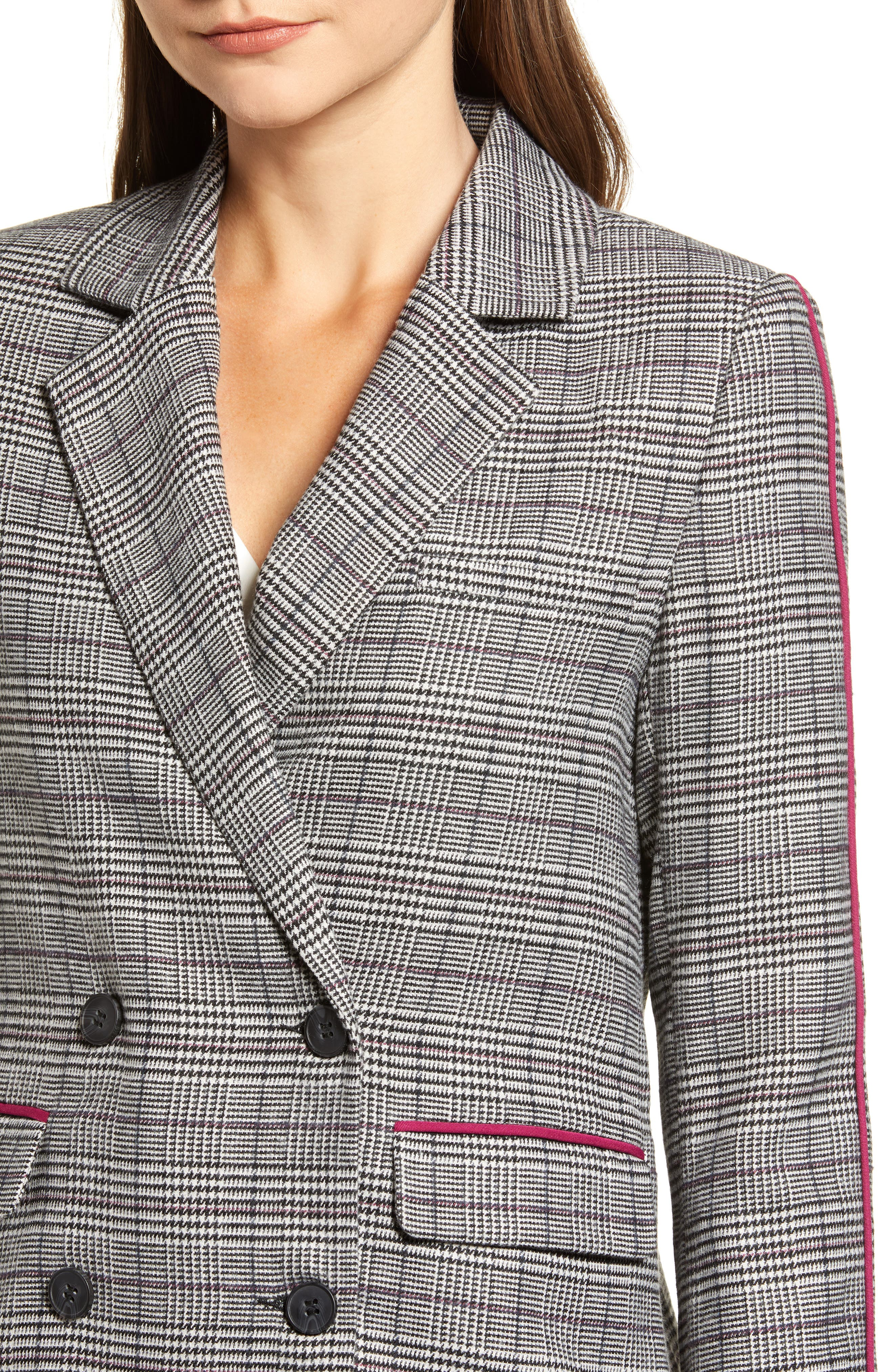 Chriselle Lim Bianca Piped Houndstooth Blazer,                             Alternate thumbnail 6, color,                             GREY PLAID