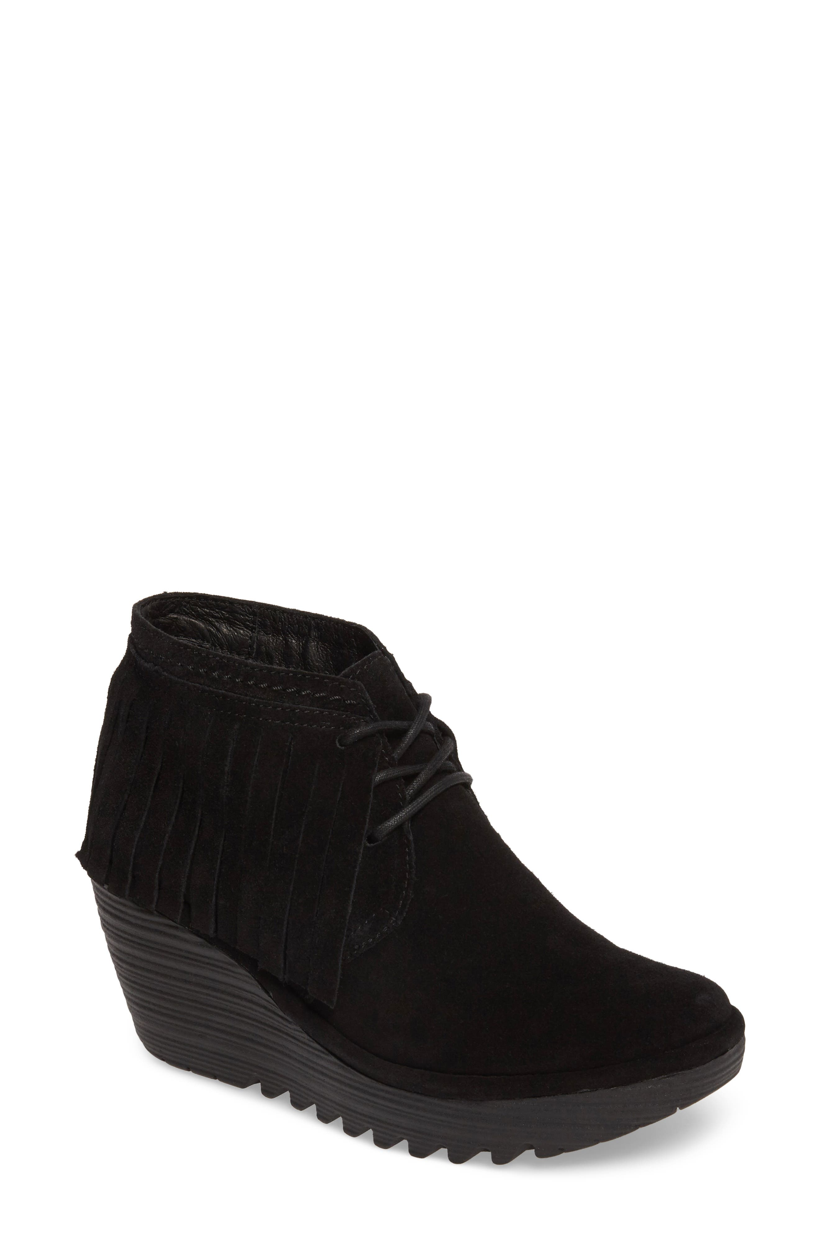 Yank Fringe Wedge Bootie, Main, color, 001