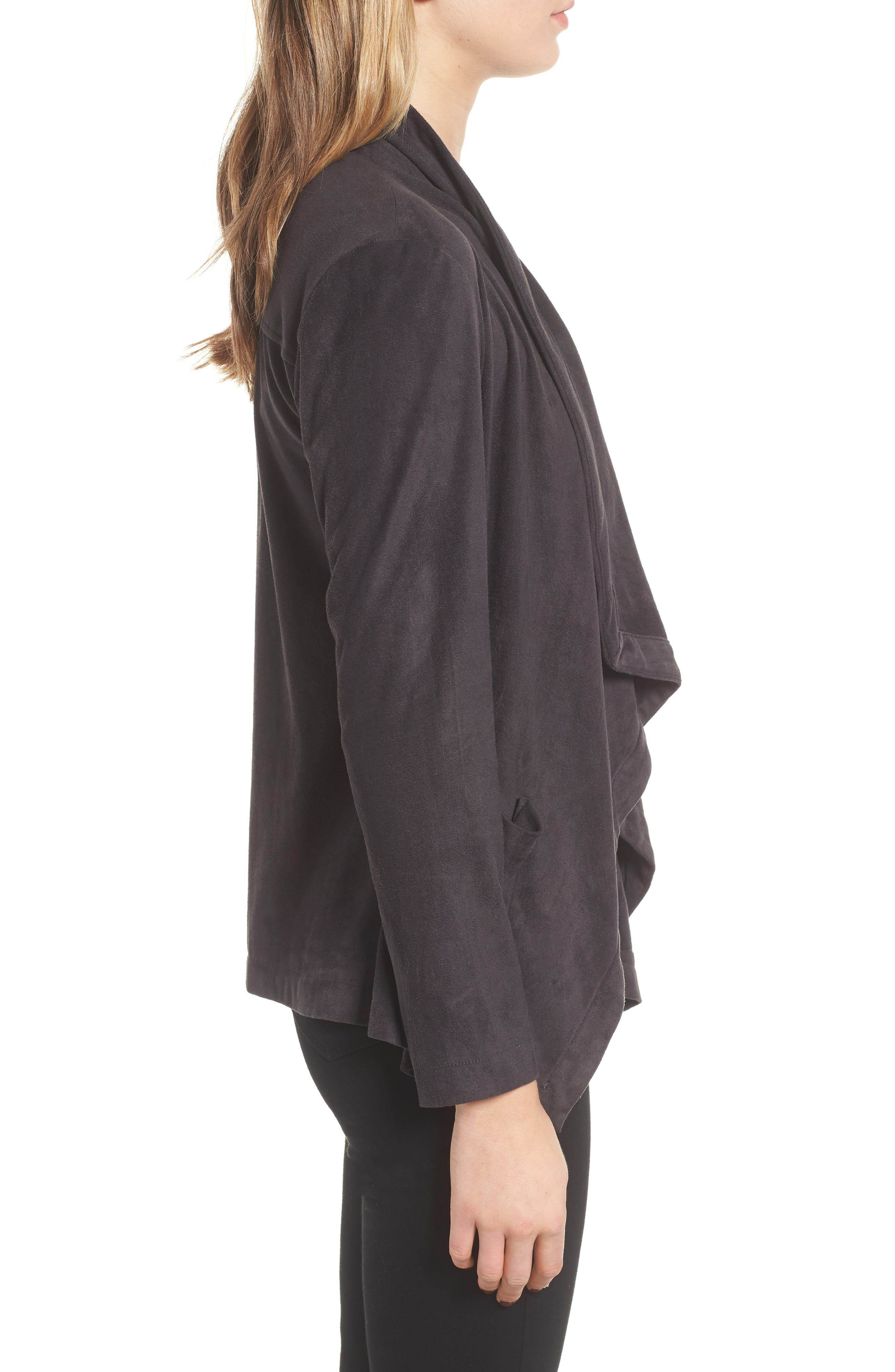 Faux Suede Waterfall Jacket,                             Alternate thumbnail 3, color,                             CHARCOAL