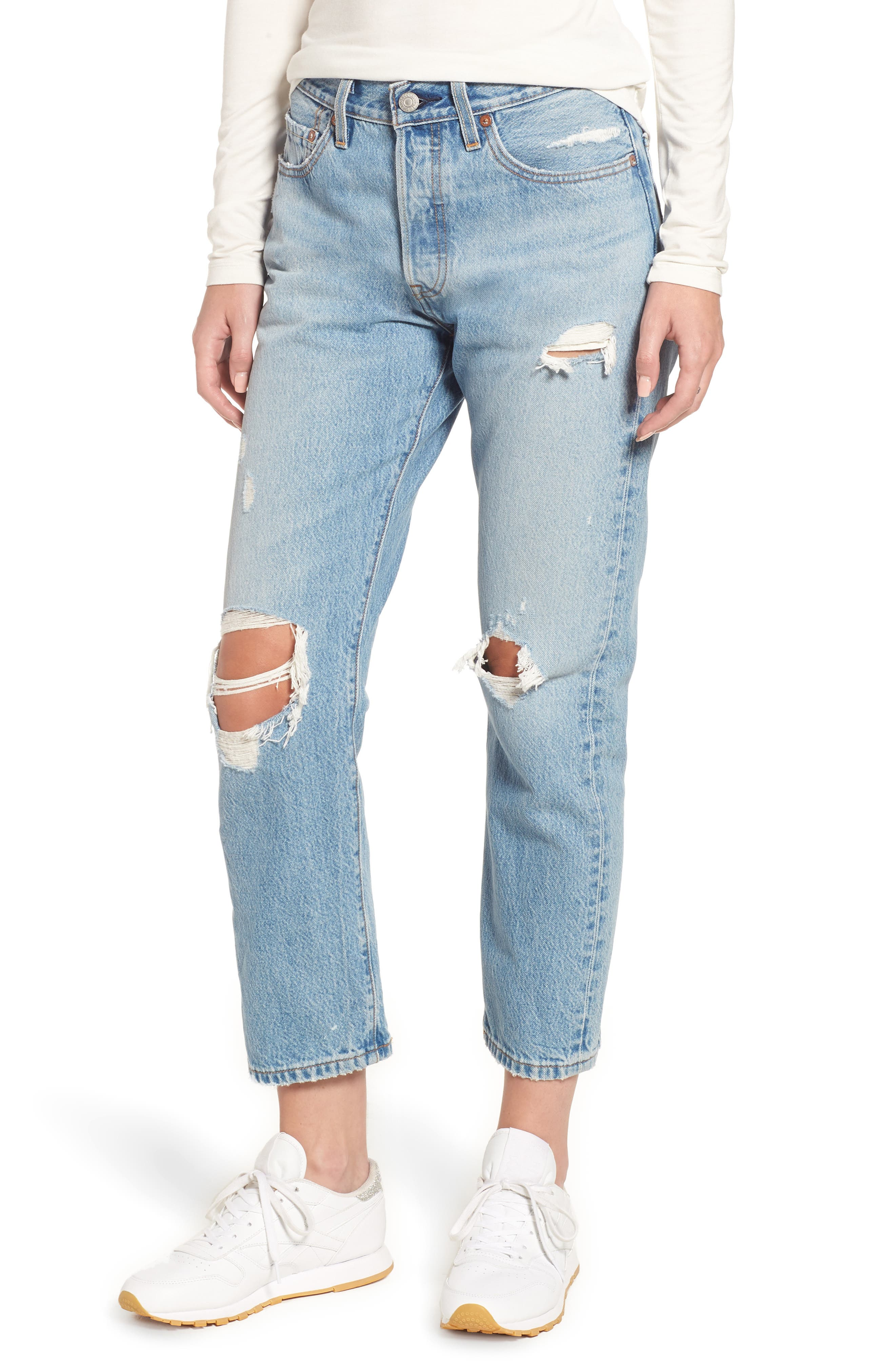 501<sup>®</sup> Ripped High Waist Crop Jeans,                             Main thumbnail 1, color,                             420