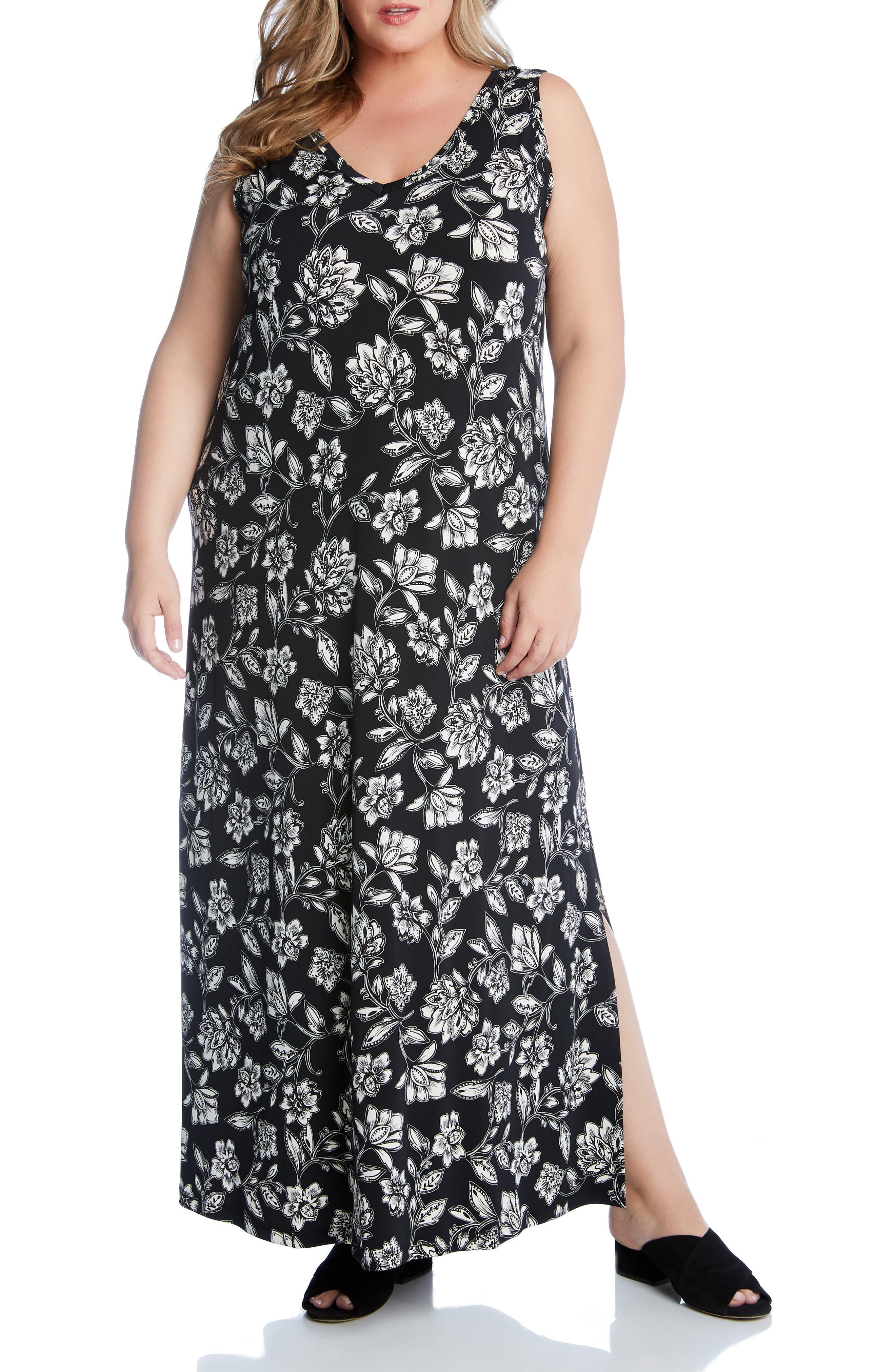 Plus Size Karen Kane Floral V-Neck Maxi Dress, Black