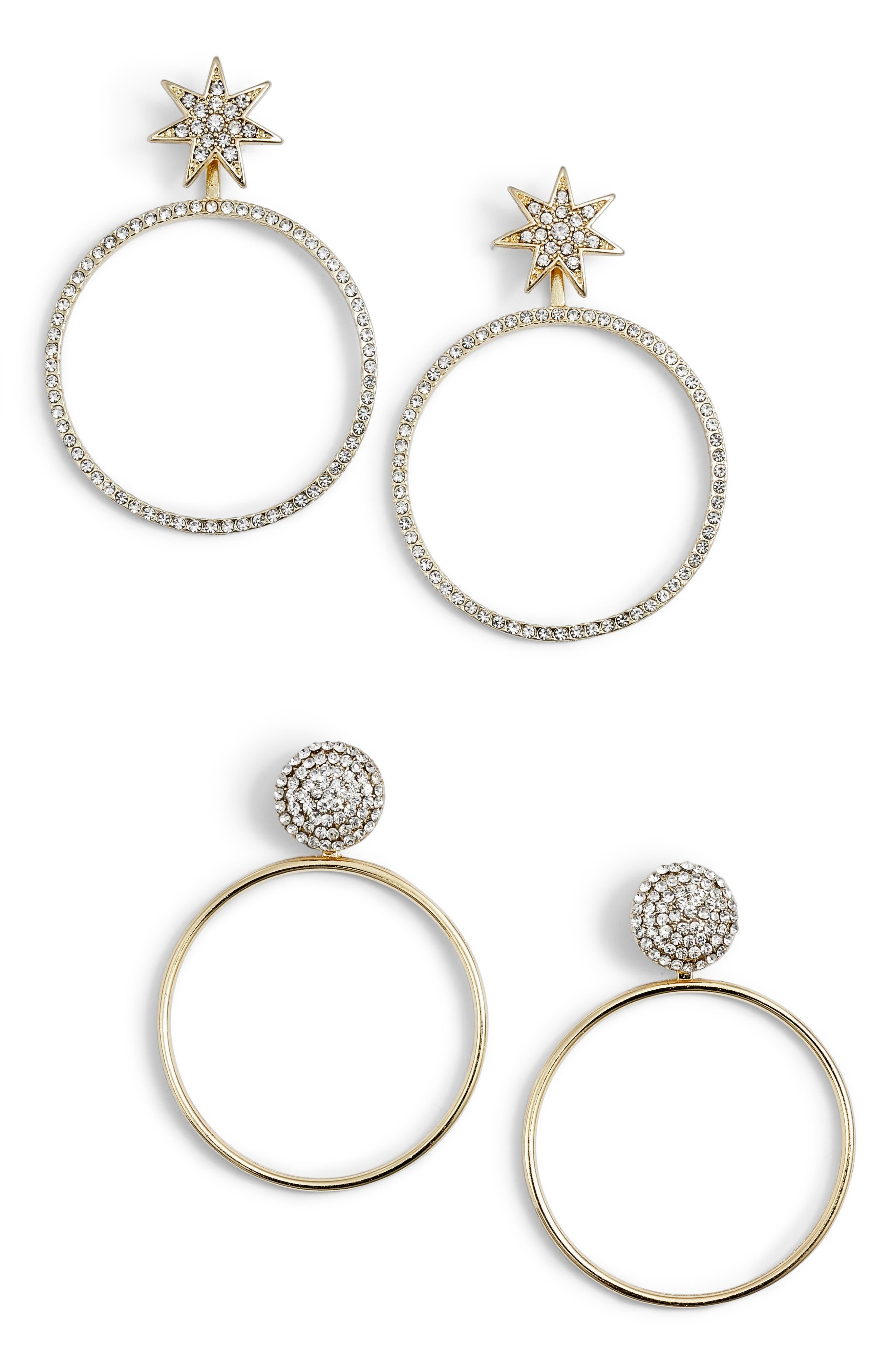 Twilight Set of 2 Hoop Earrings,                             Main thumbnail 1, color,                             GOLD