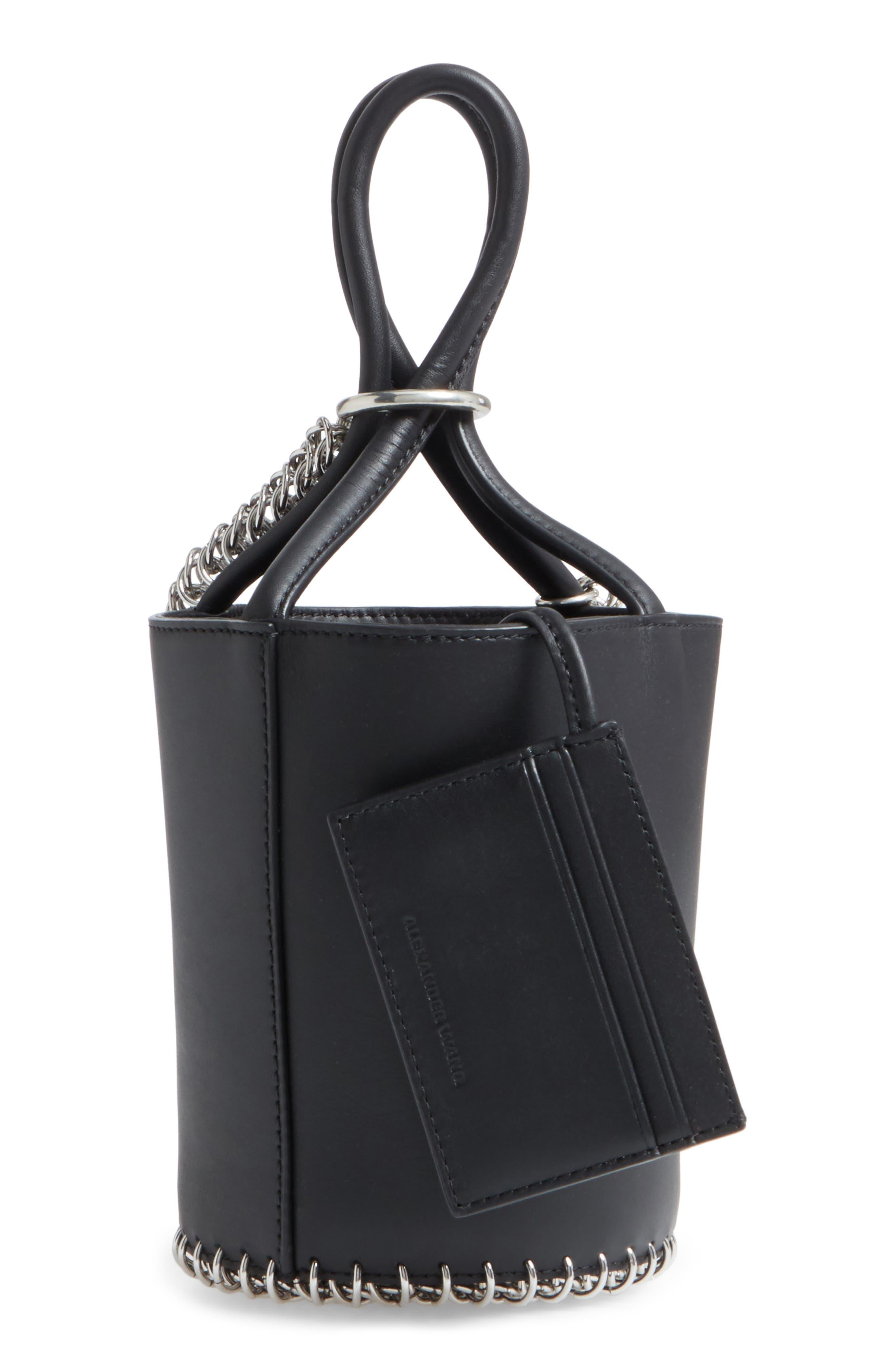 Roxy Box Chain Leather Bucket Bag,                             Alternate thumbnail 3, color,                             001