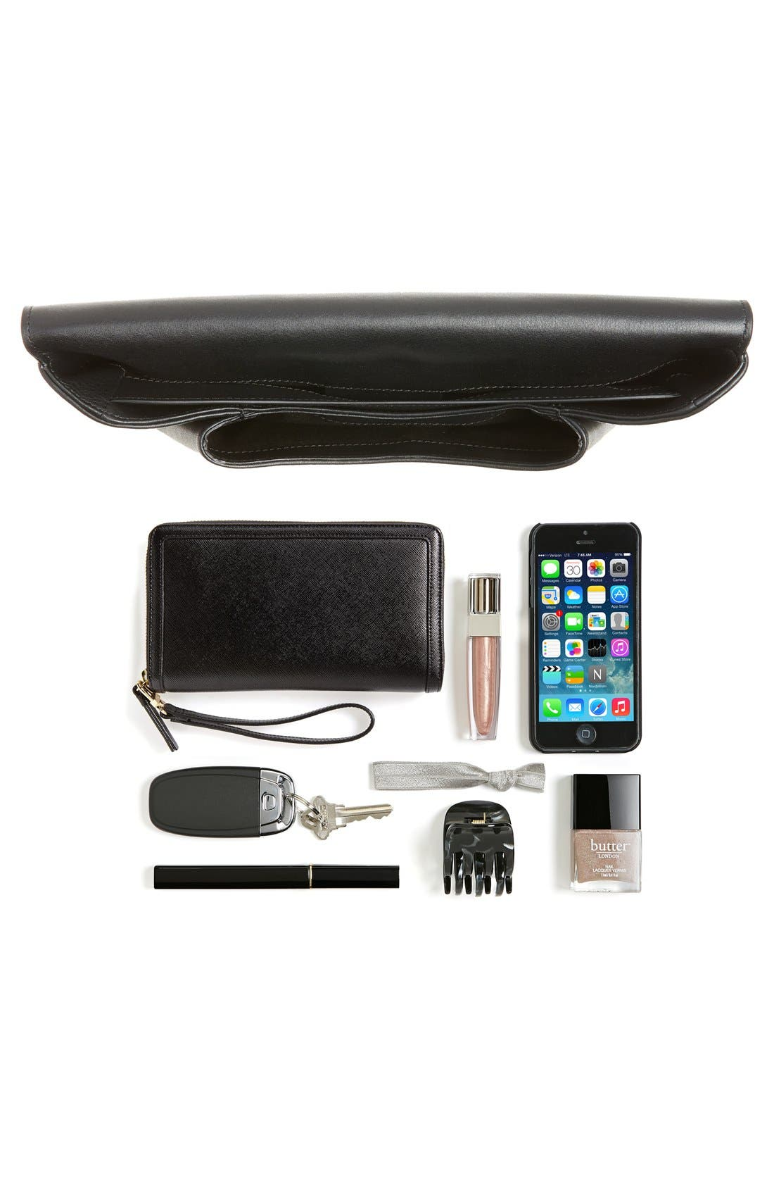 'Medium Antigona' Leather Envelope Clutch,                             Alternate thumbnail 6, color,                             001