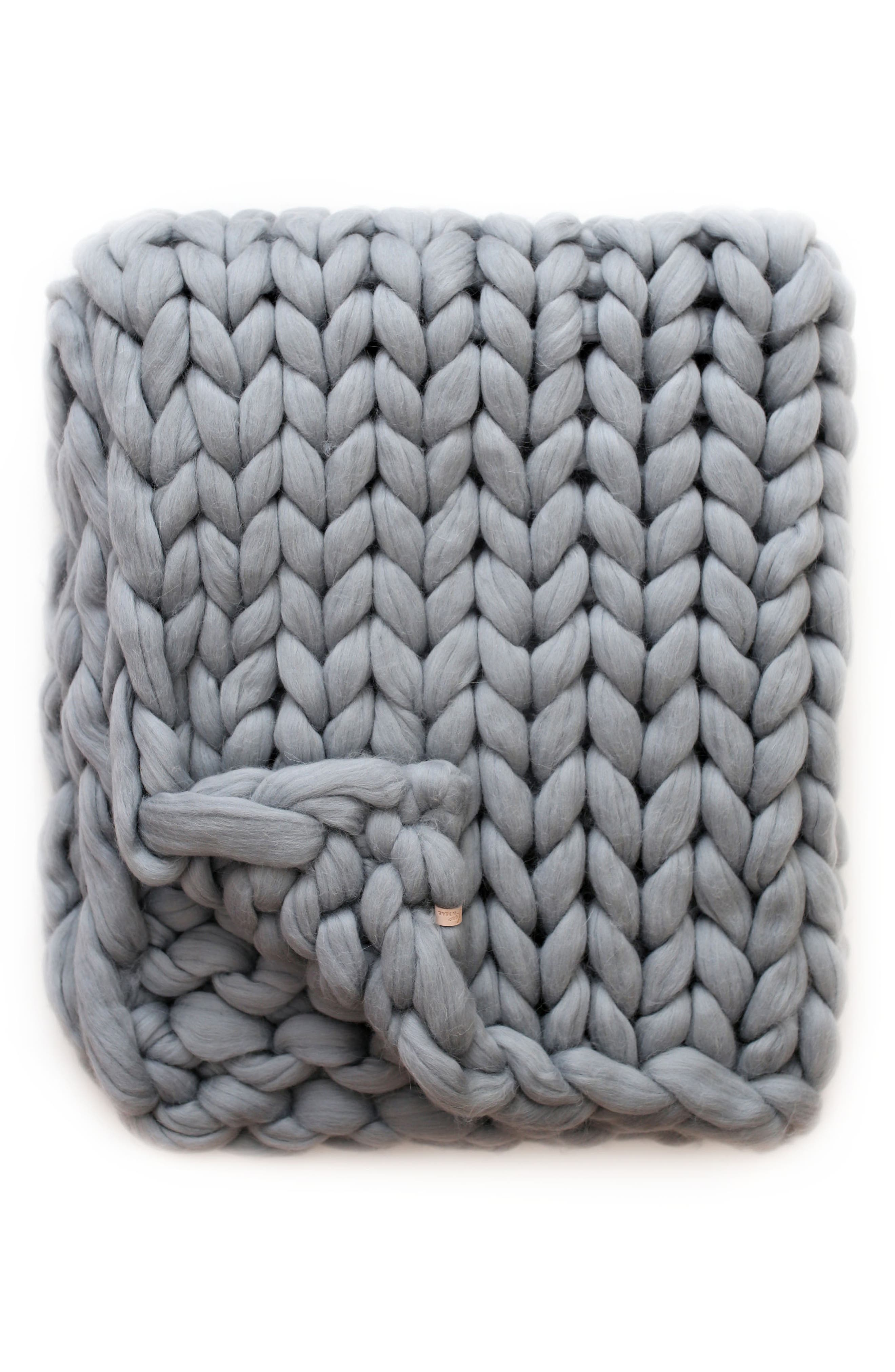Merino Wool Throw Blanket, Main, color, SILVER GRAY