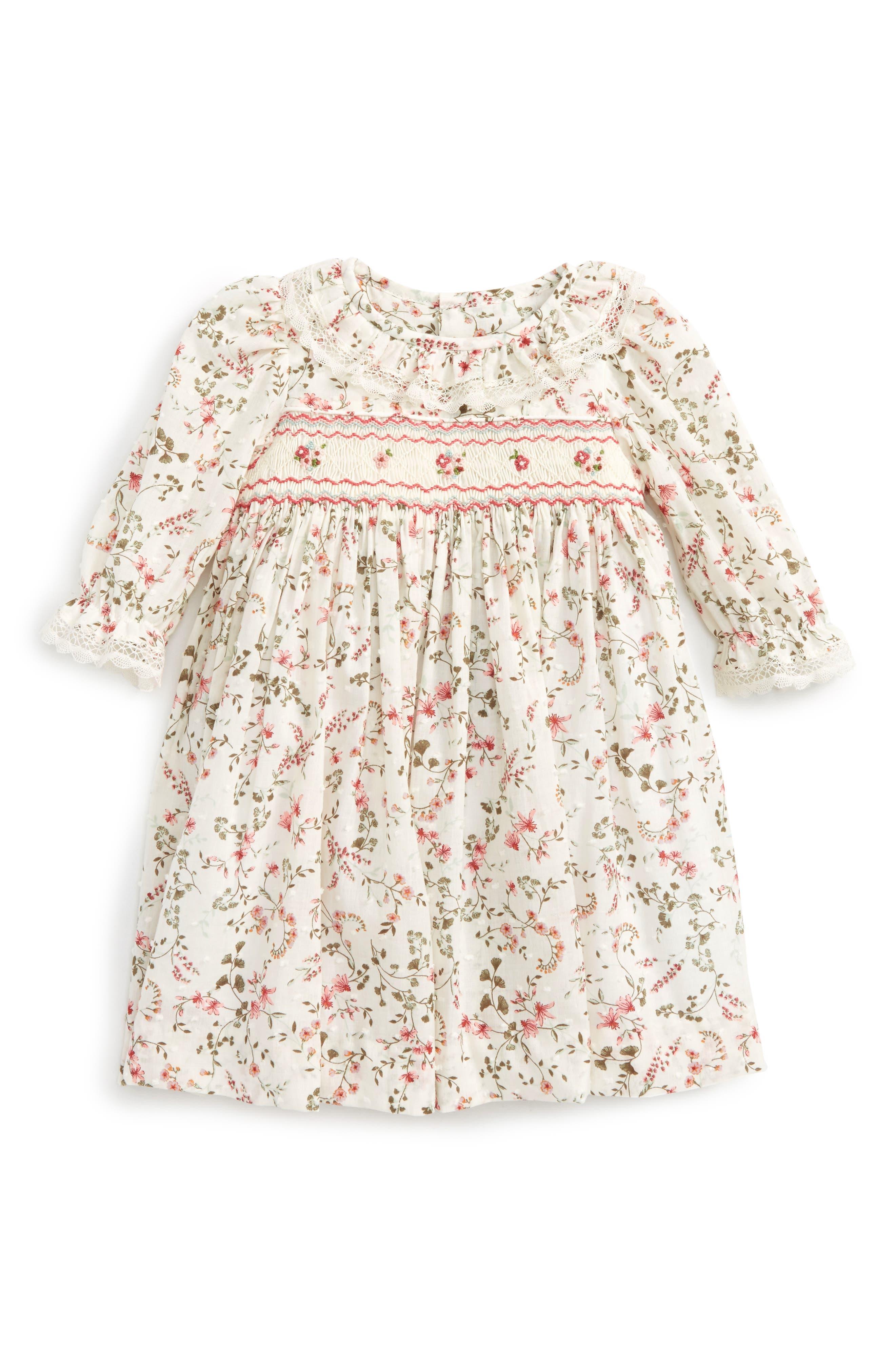 Floral Print Plumetis Smocked Dress,                         Main,                         color,