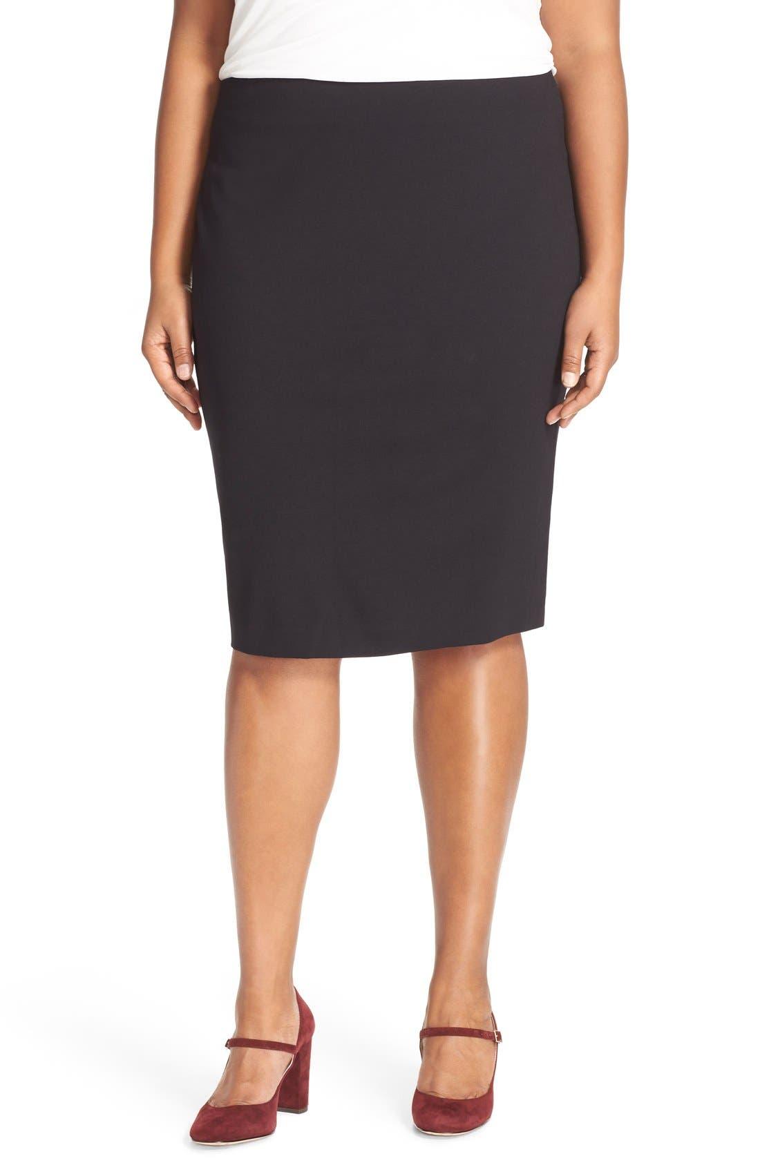 Ponte Knit Skirt,                         Main,                         color, RICH BLACK