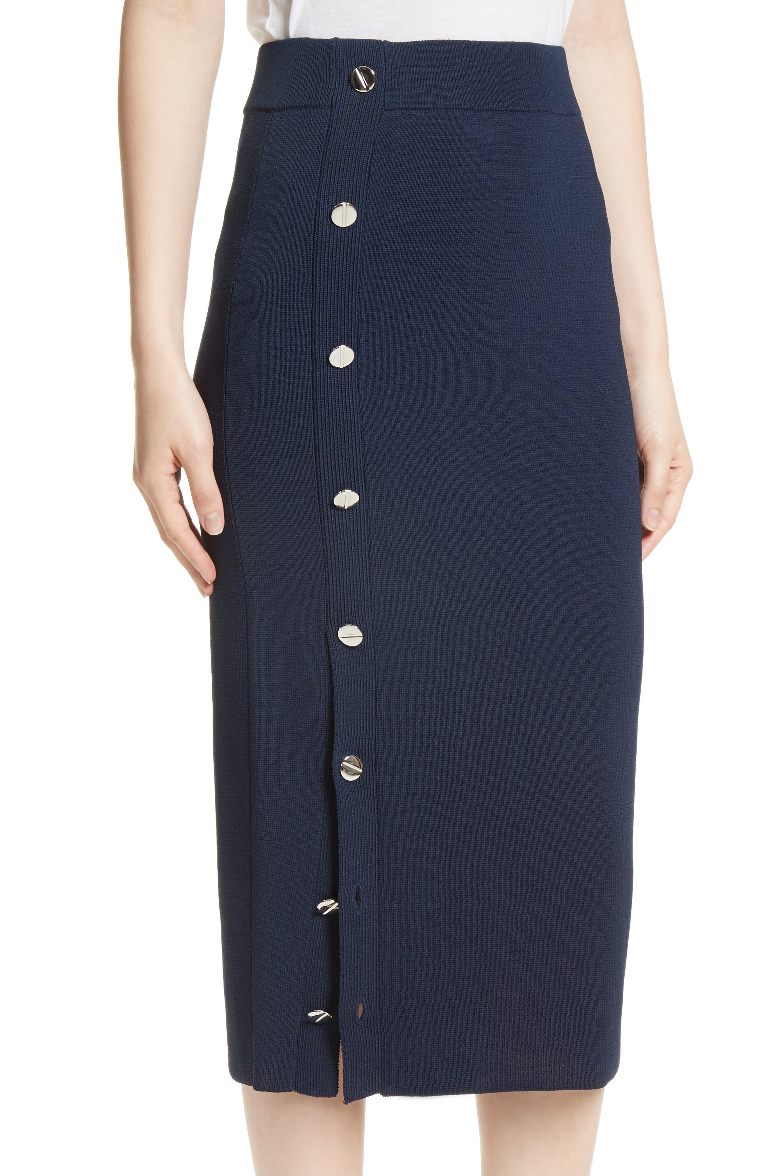 Button Detail Knit Pencil Skirt,                             Alternate thumbnail 4, color,