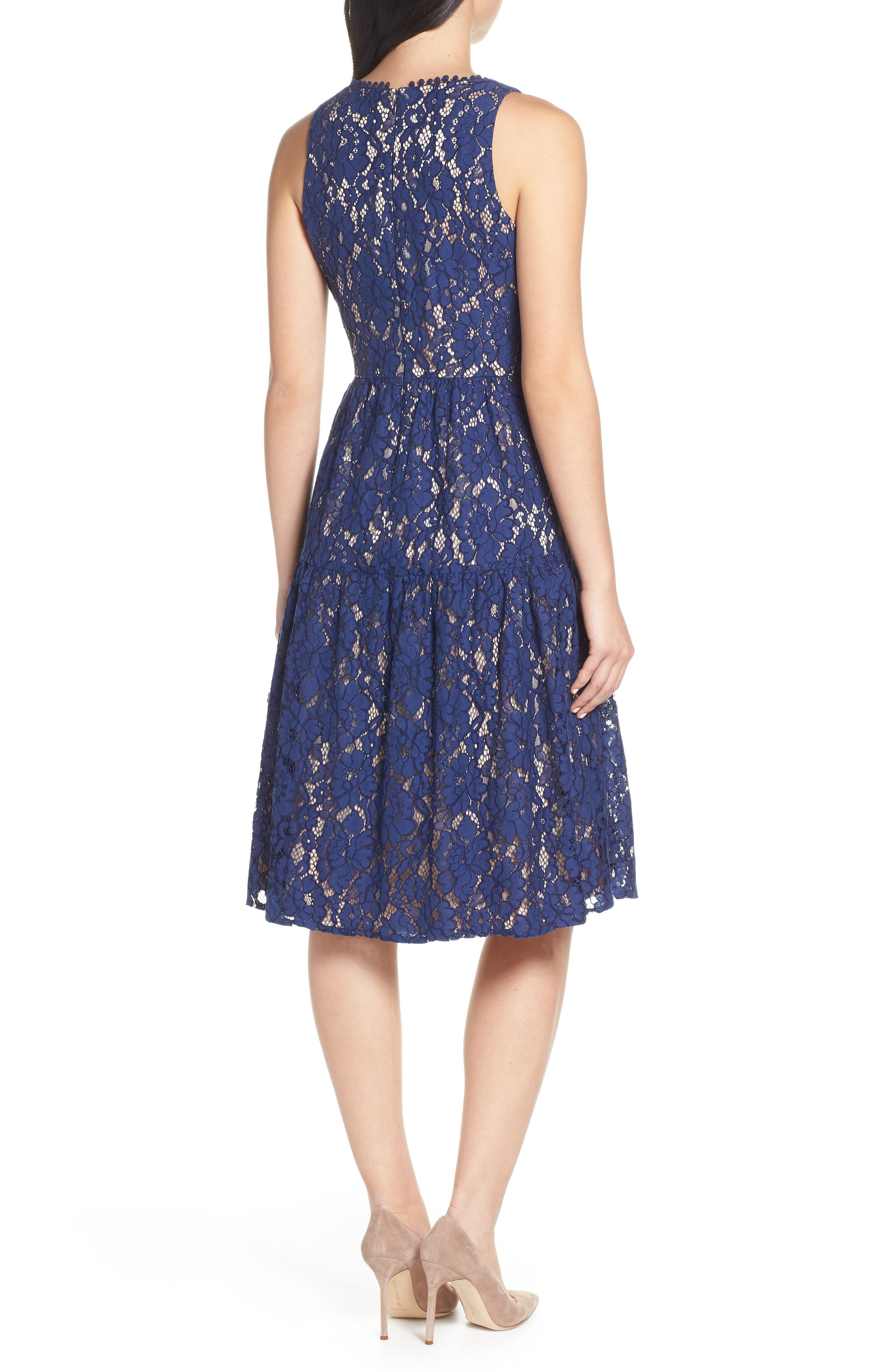 Lace Fit & Flare Dress,                             Alternate thumbnail 2, color,                             NAVY