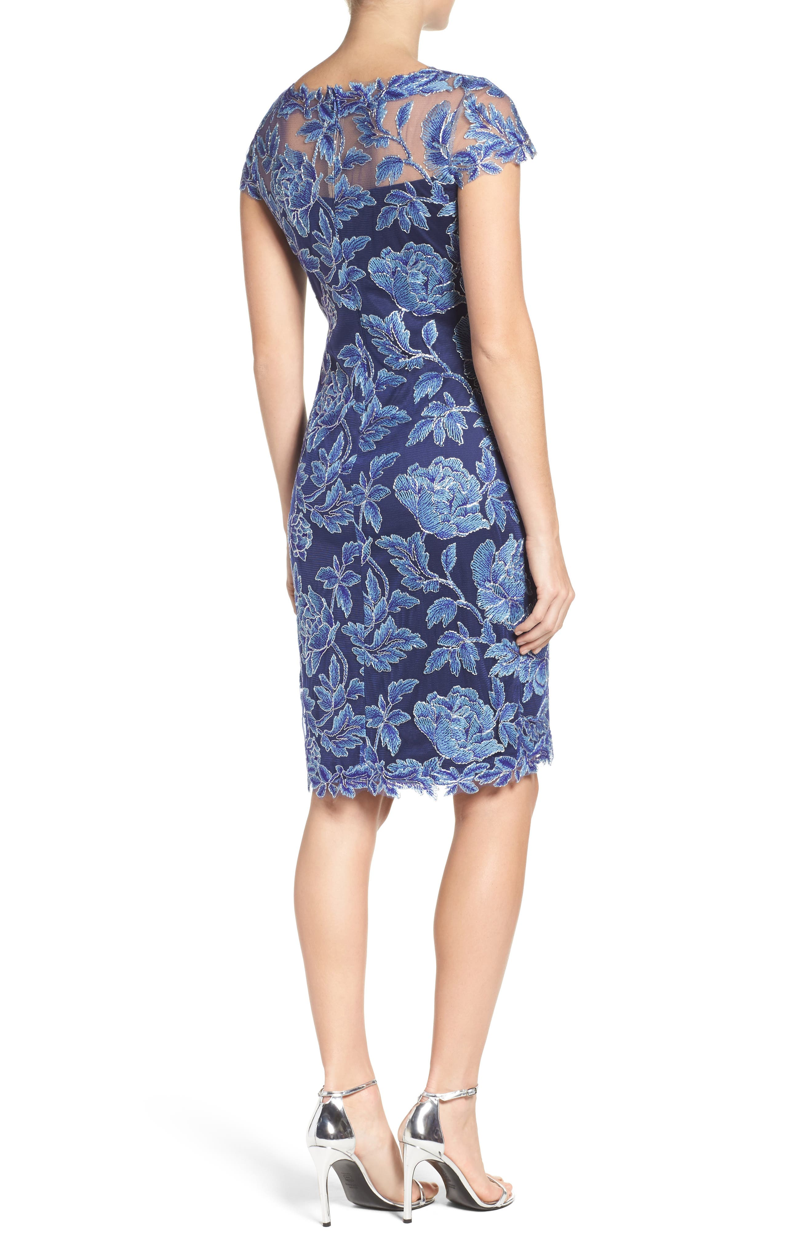 Embroidered Mesh Sheath Dress,                             Alternate thumbnail 5, color,