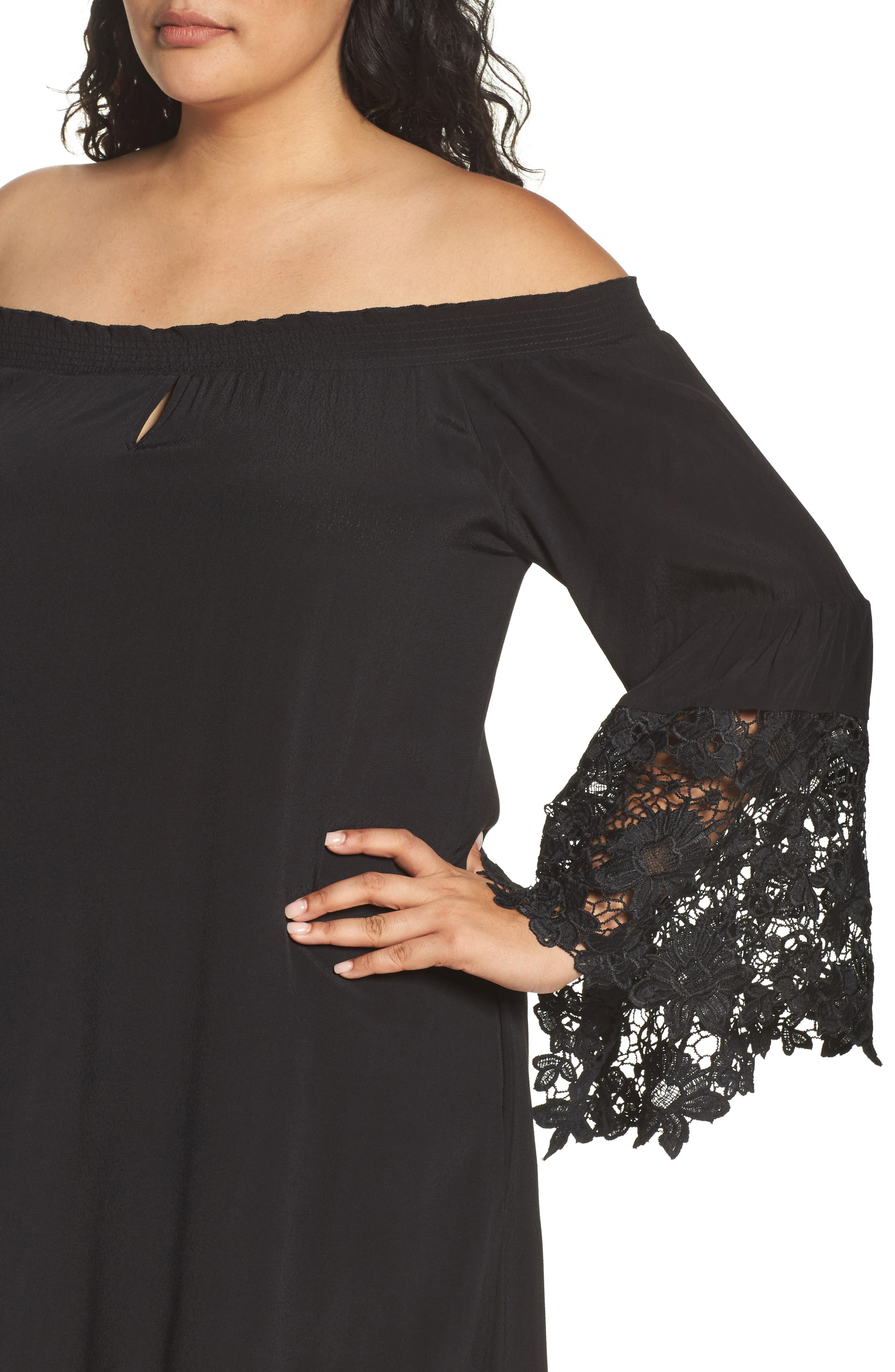 Jolie Lace Accent Cover-Up Dress,                             Alternate thumbnail 3, color,                             001