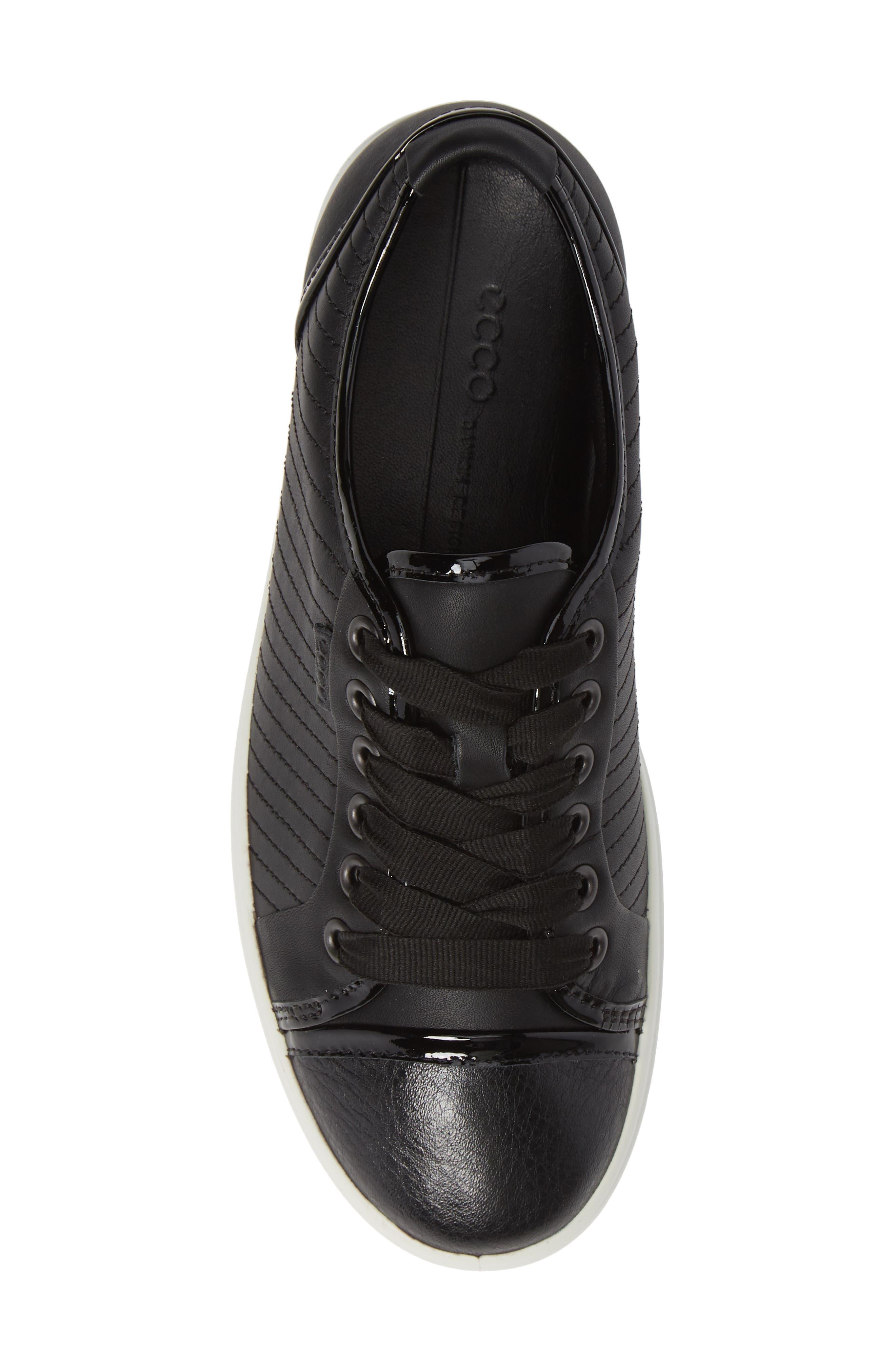 Soft 7 Cap Toe Sneaker,                             Alternate thumbnail 5, color,                             BLACK LEATHER