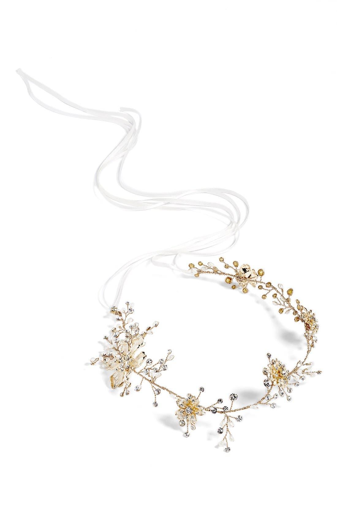 Atiena Embellished Floral Motif Halo & Sash,                             Alternate thumbnail 6, color,                             14 K GOLD