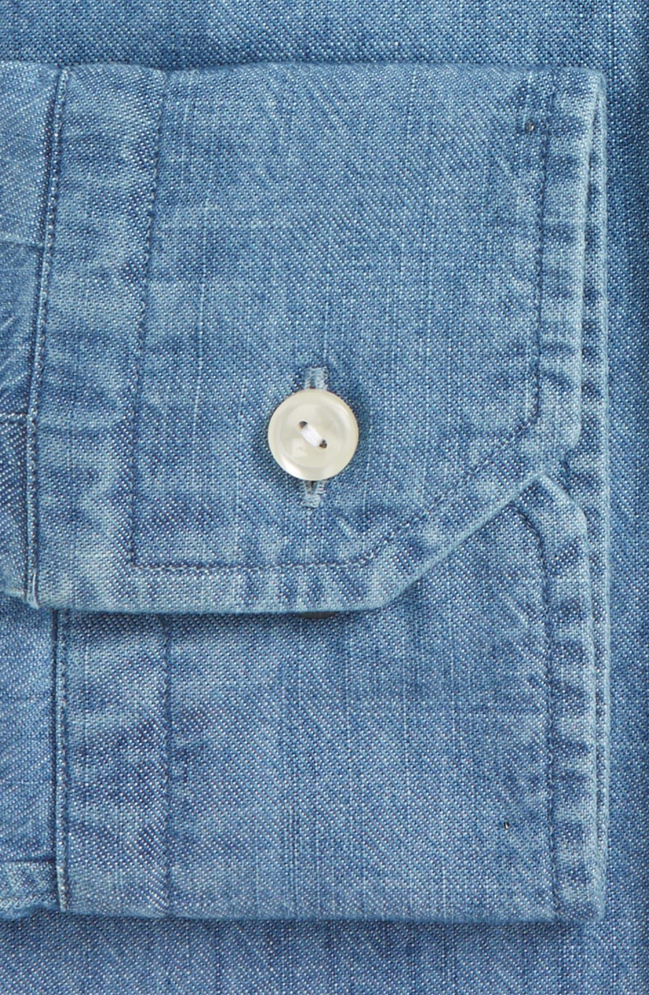Slim Fit Chambray Dress Shirt,                             Main thumbnail 1, color,                             400