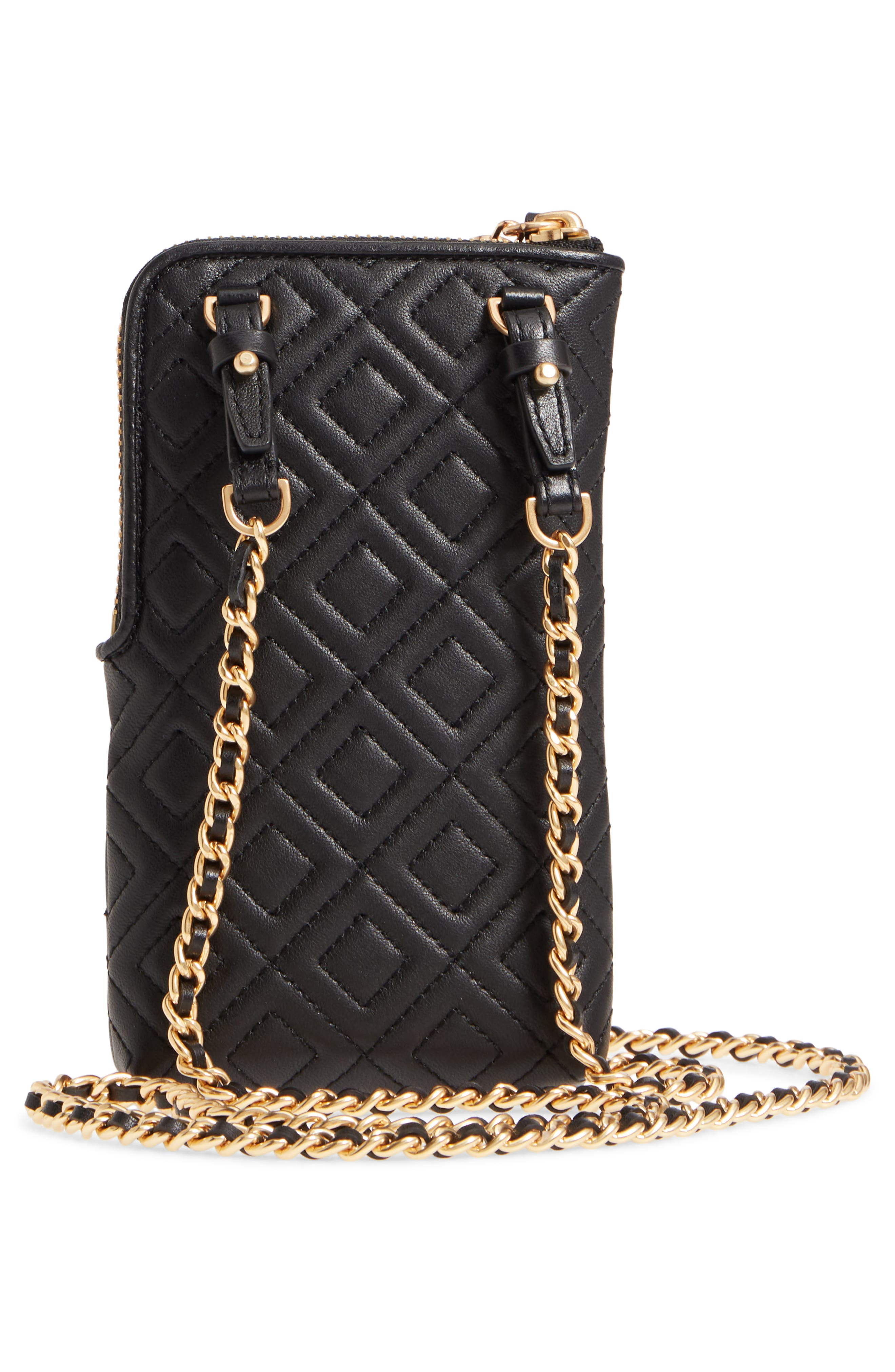 Fleming Lambskin Leather Phone Crossbody Bag,                             Alternate thumbnail 3, color,                             001