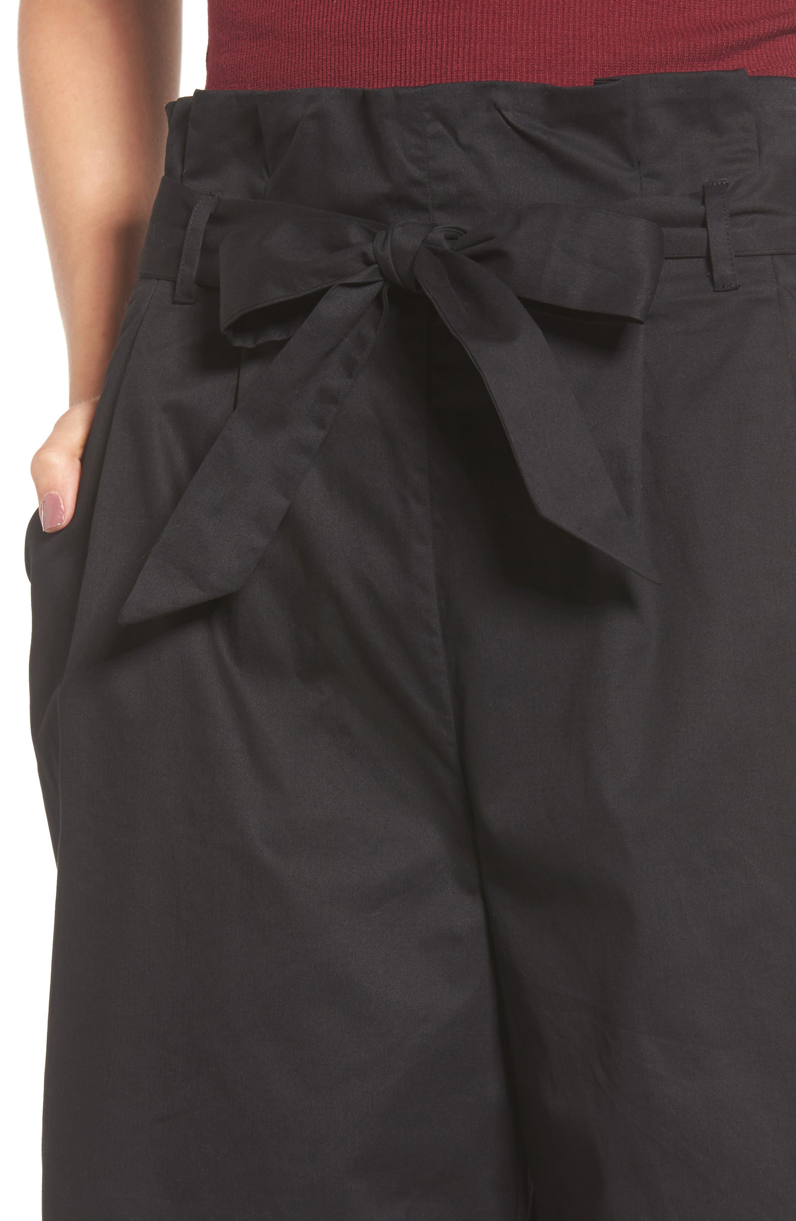 Paperbag Waist Wide Leg Pants,                             Alternate thumbnail 4, color,                             001