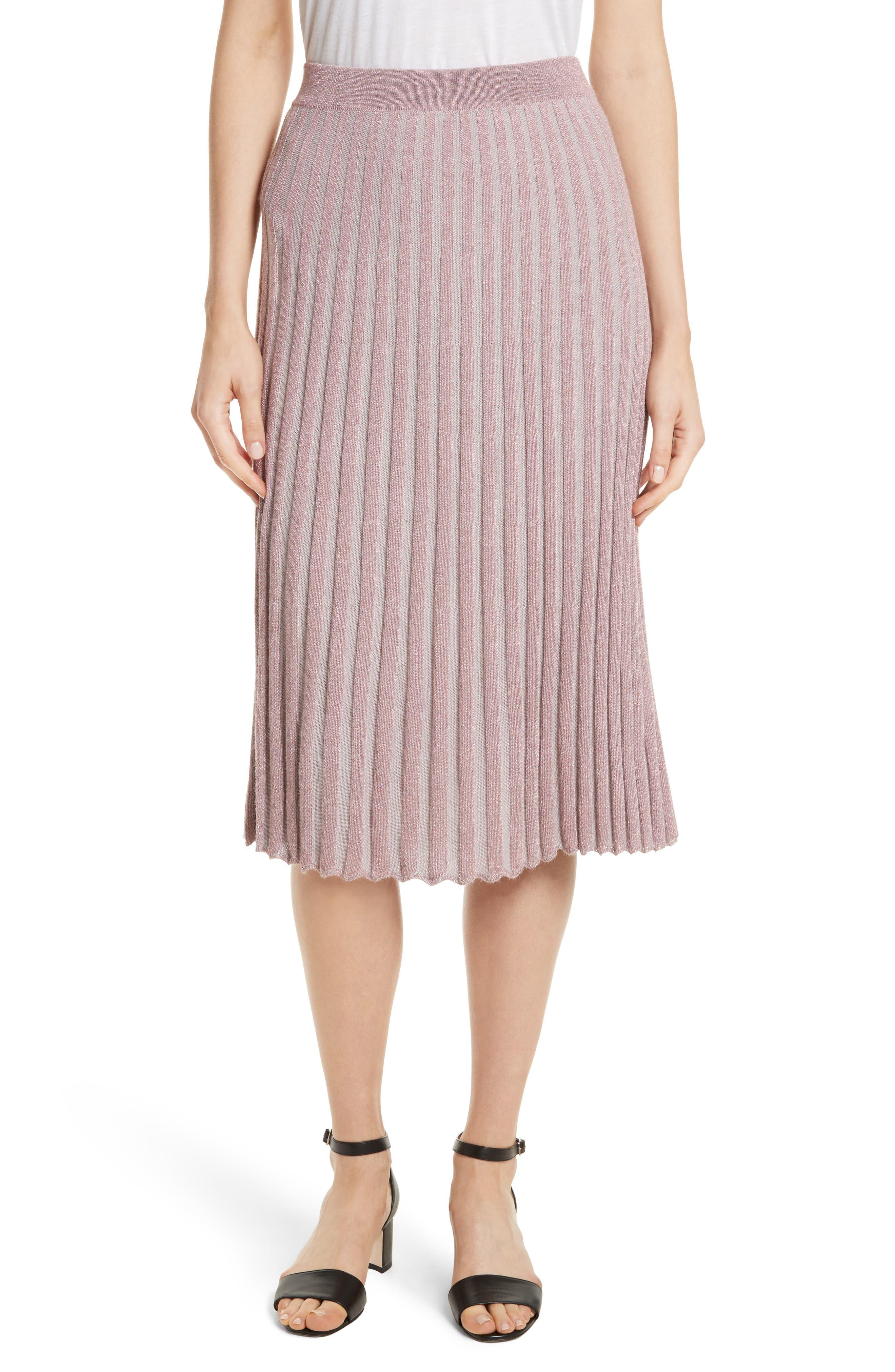 Metallic Ribbed Knit Skirt,                             Main thumbnail 1, color,