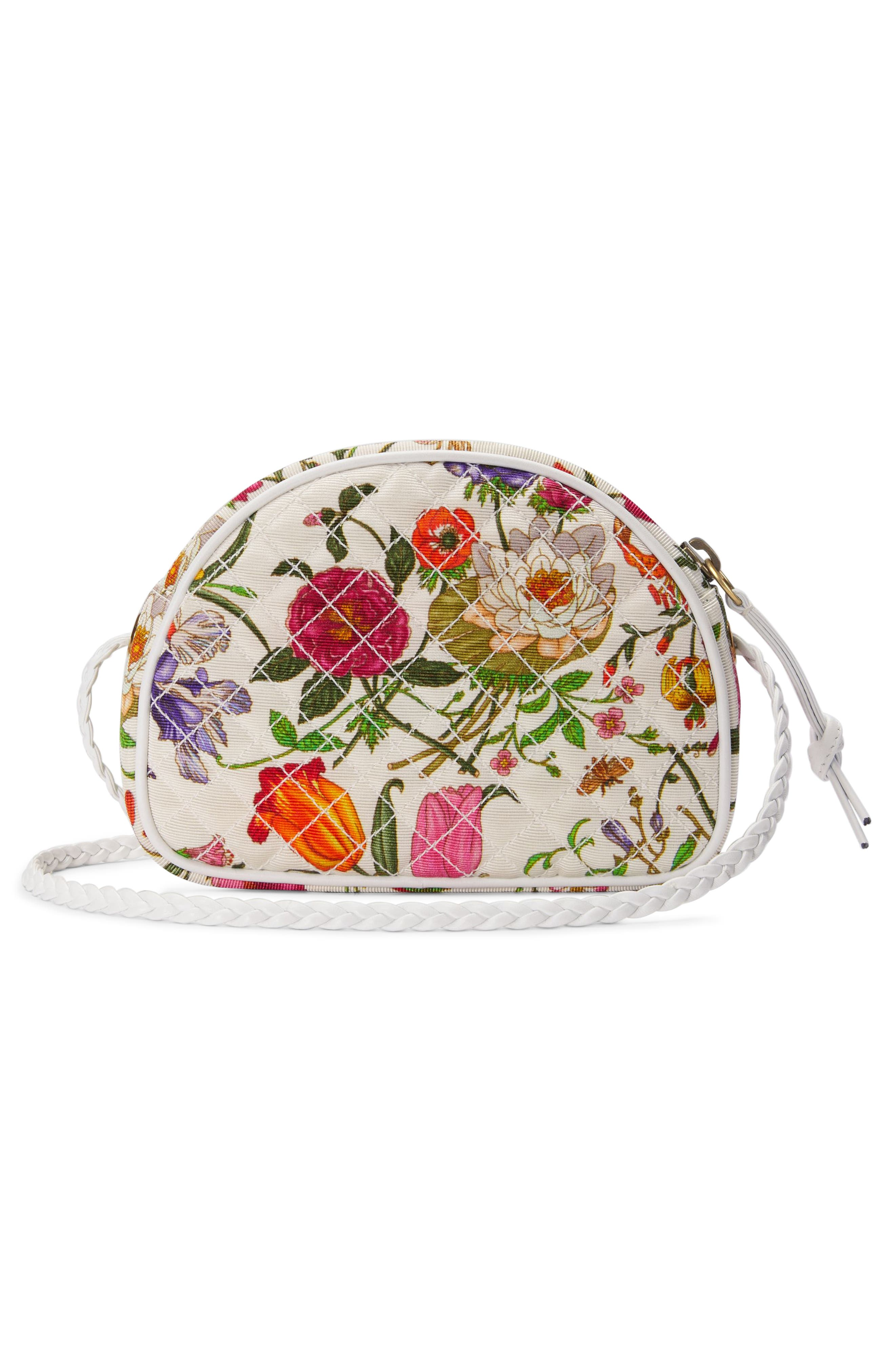 Quilted Floral Print Dome Crossbody Bag,                             Alternate thumbnail 2, color,                             WHITE MULTI