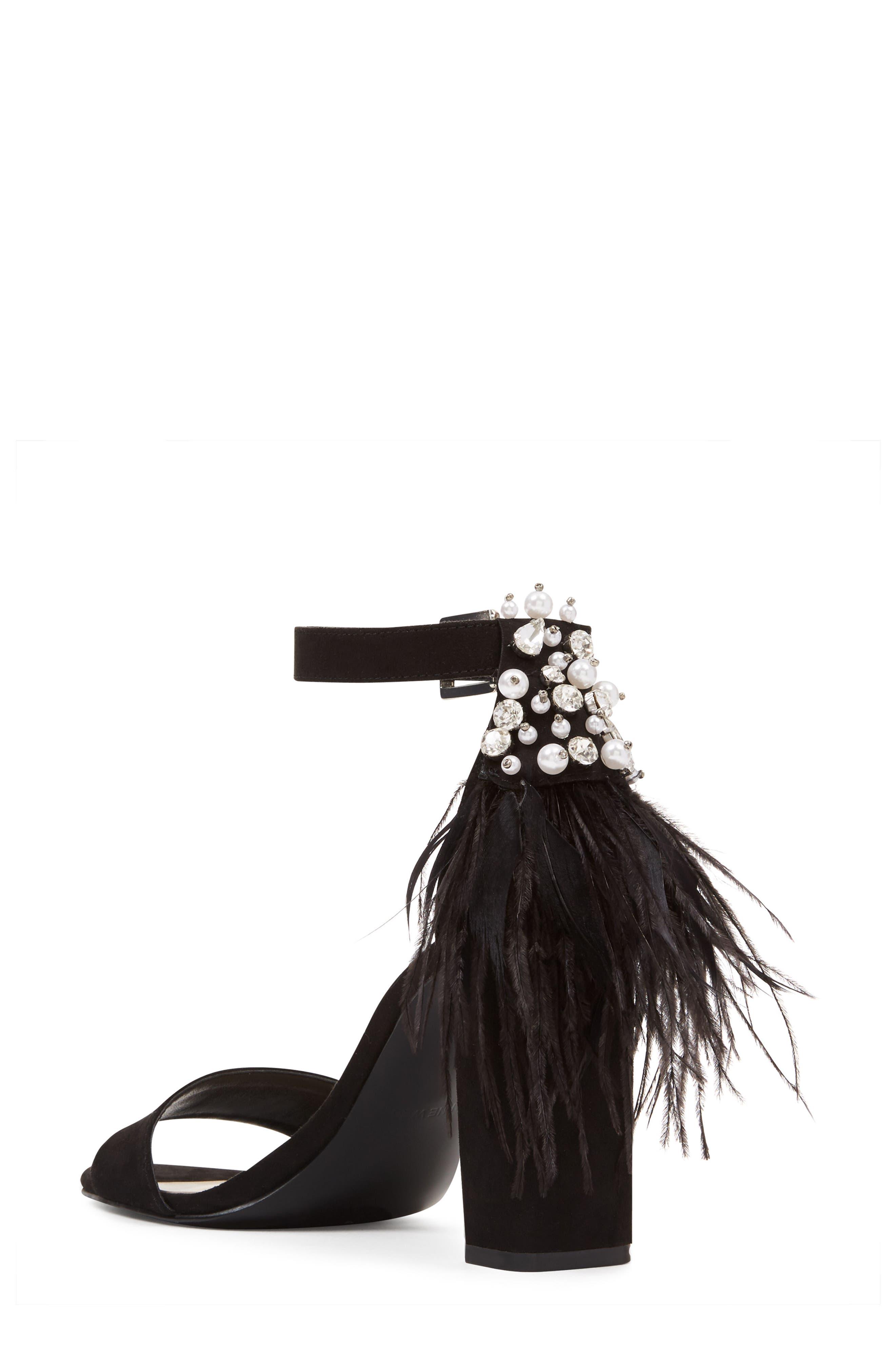 Aaronita Feather Block Heel Sandal,                             Alternate thumbnail 2, color,                             001