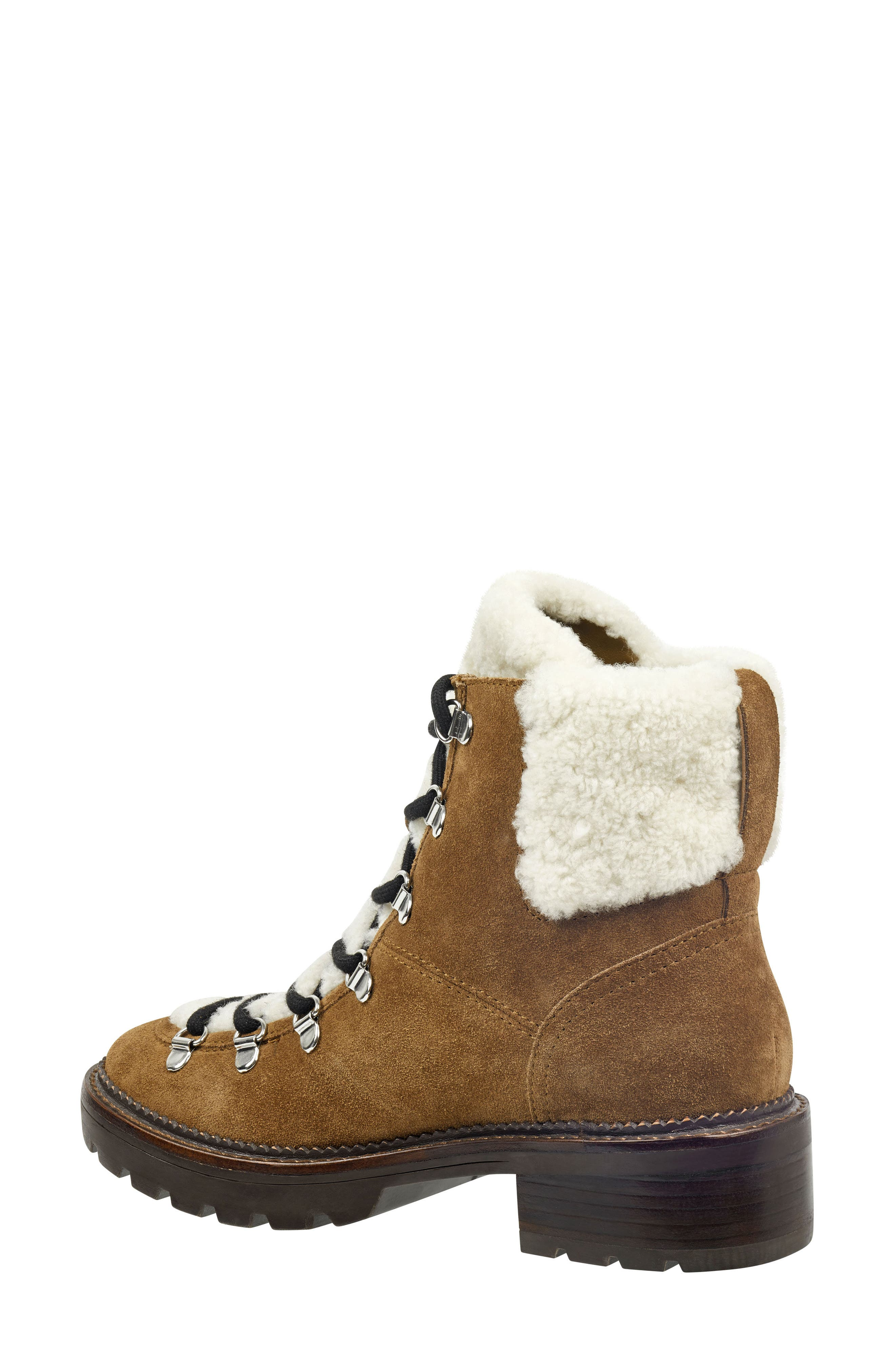 Capell Genuine Shearling Cuff Lace-Up Boot,                             Alternate thumbnail 2, color,                             BROWN SUEDE