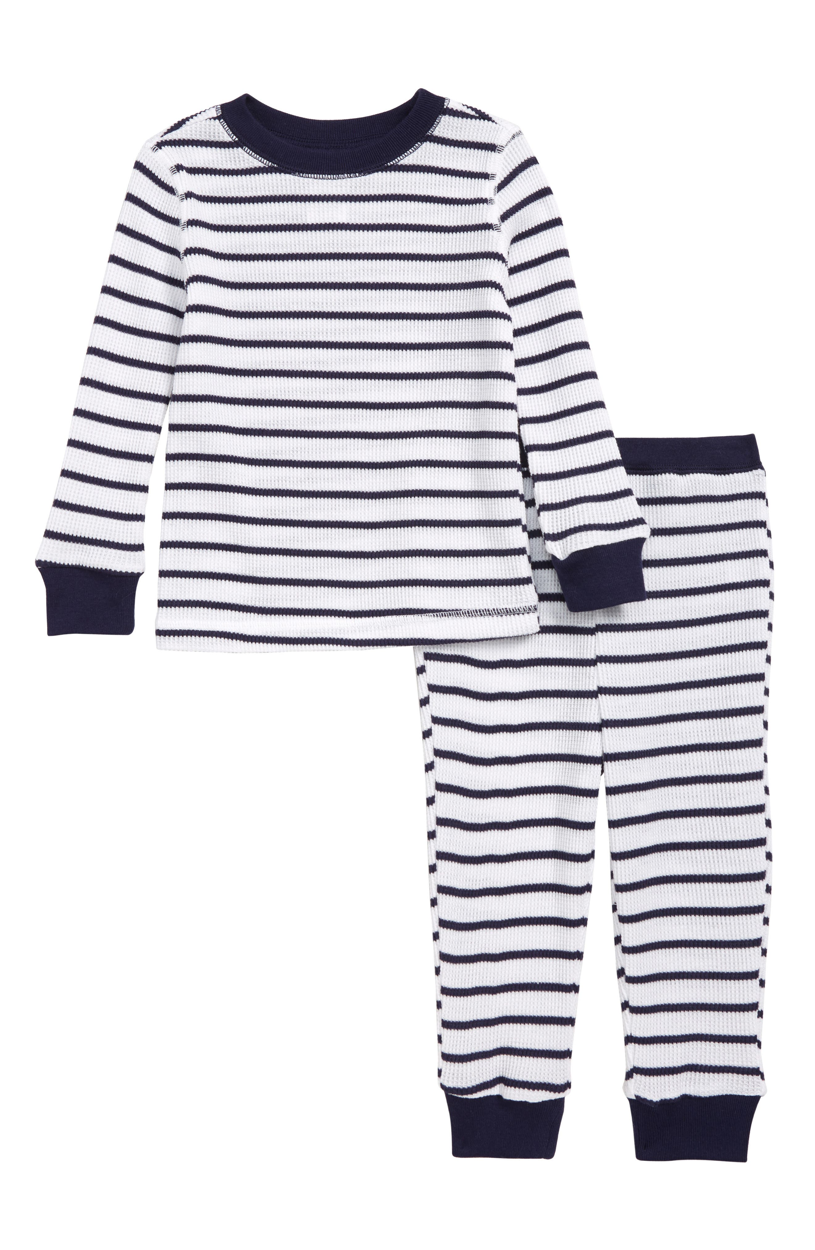 Fitted Thermal Two-Piece Pajamas,                             Main thumbnail 1, color,                             NAVY AND WHITE STRIPE