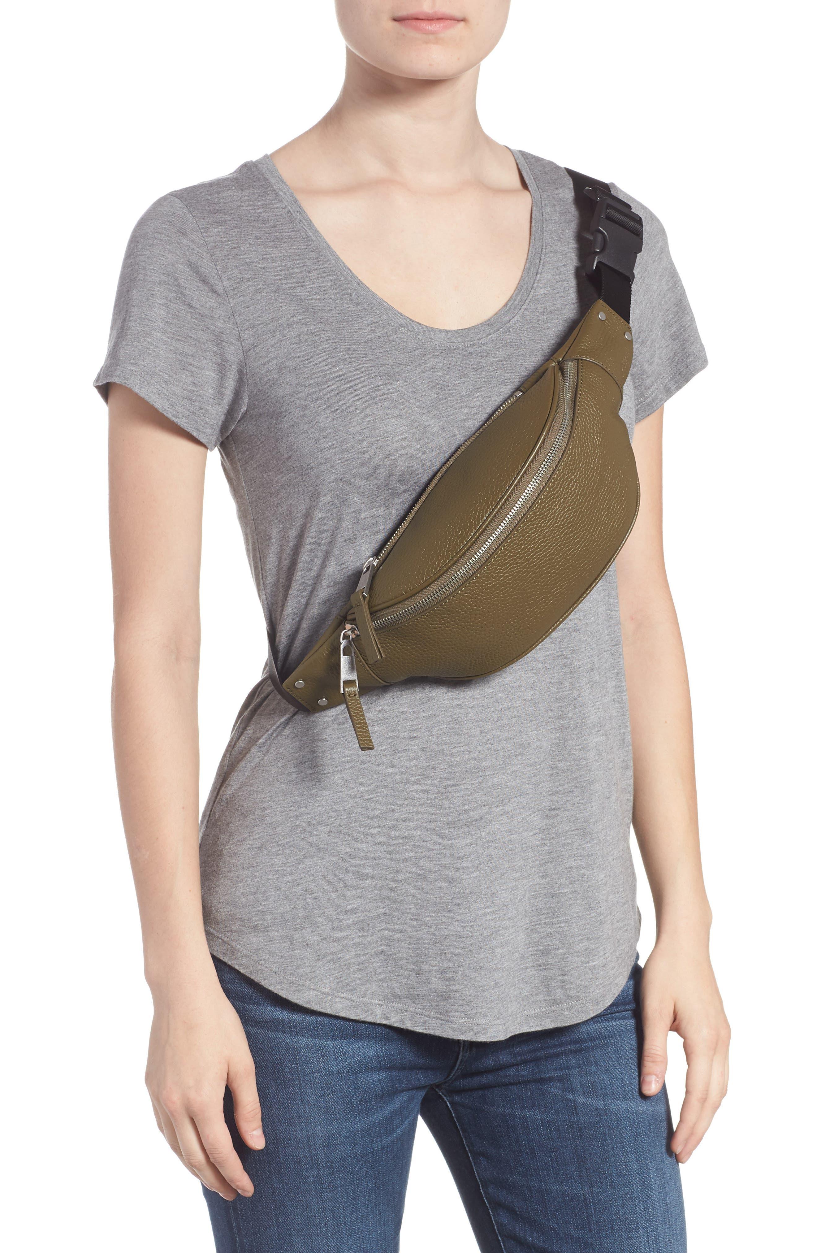 Mason Pebbled Leather Belt Bag,                             Alternate thumbnail 3, color,                             OLIVE GROVE