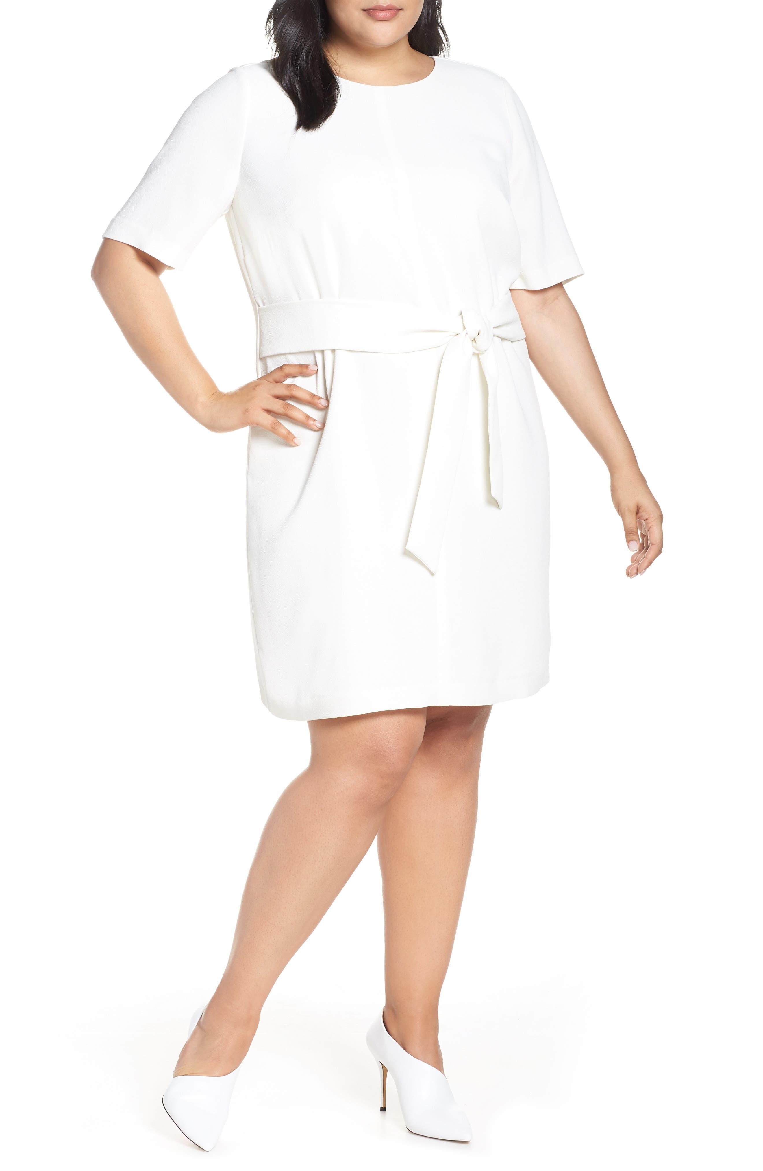 Plus Size Vince Camuto Belt Parisian Crepe Dress, Ivory