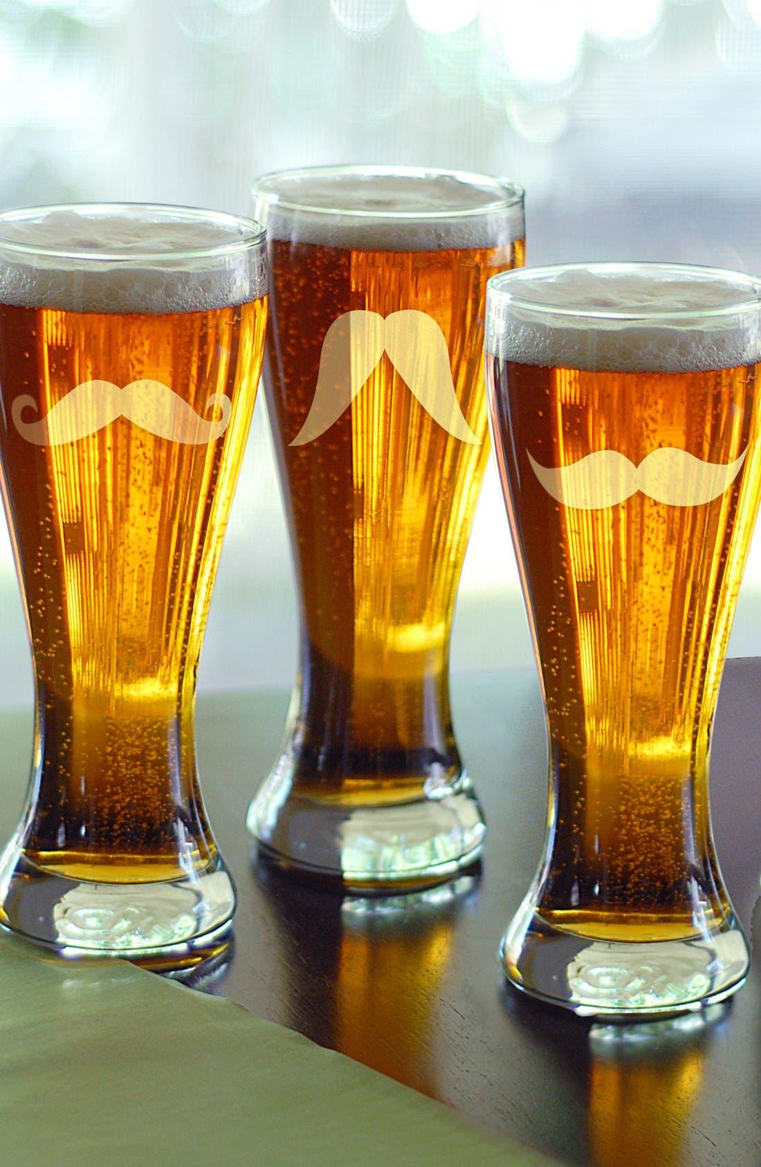 Mustache Pilsner Glasses,                             Main thumbnail 1, color,                             000