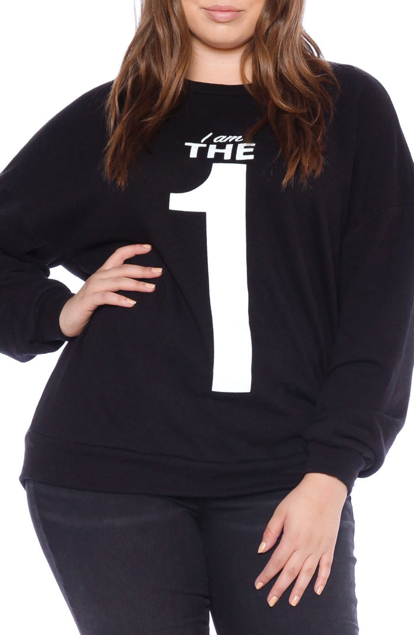 I Am the One Oversize Sweatshirt,                             Main thumbnail 1, color,                             BLACK