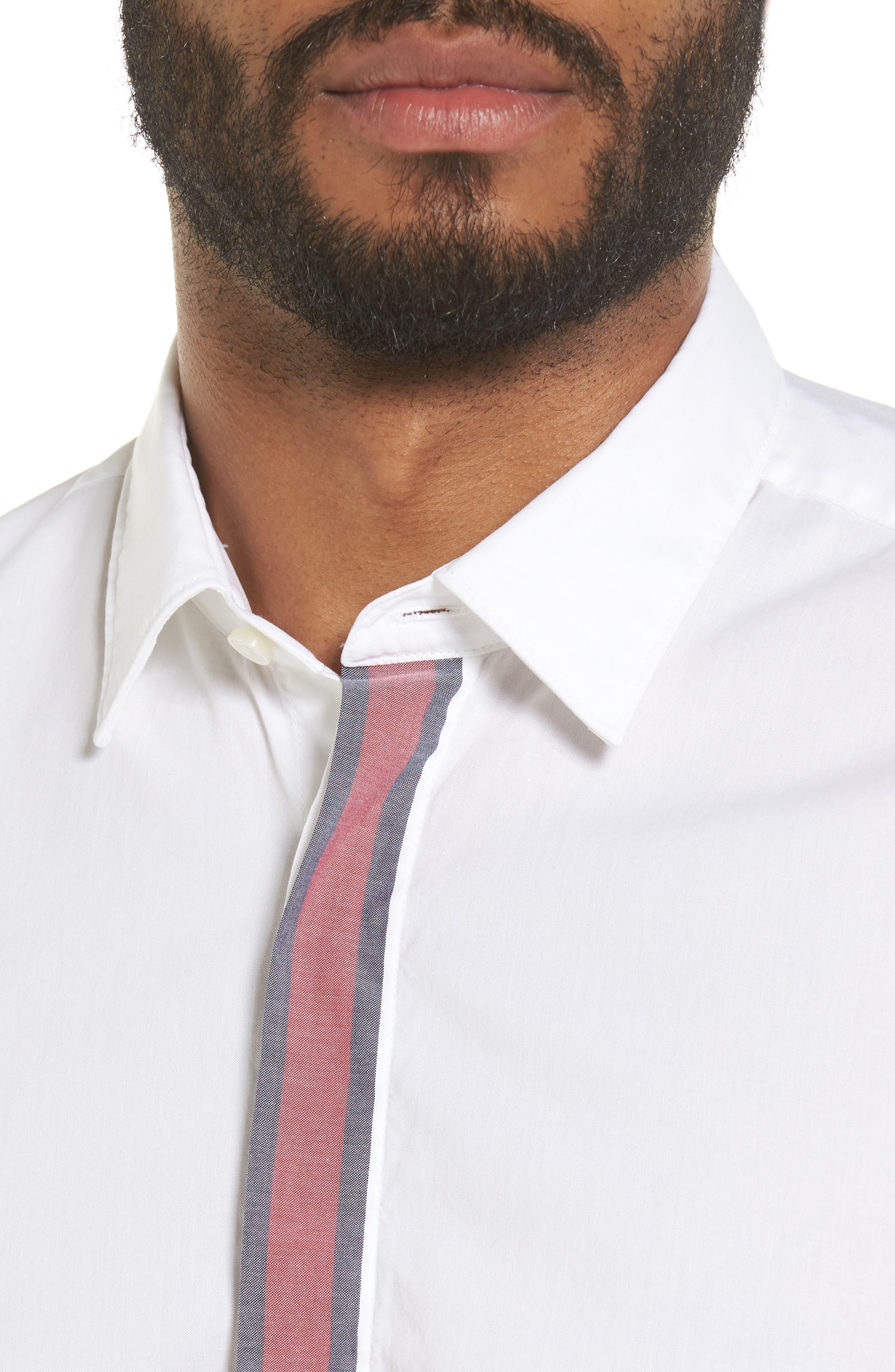 Reid Slim Fit Contrast Placket Sport Shirt,                             Alternate thumbnail 4, color,                             101