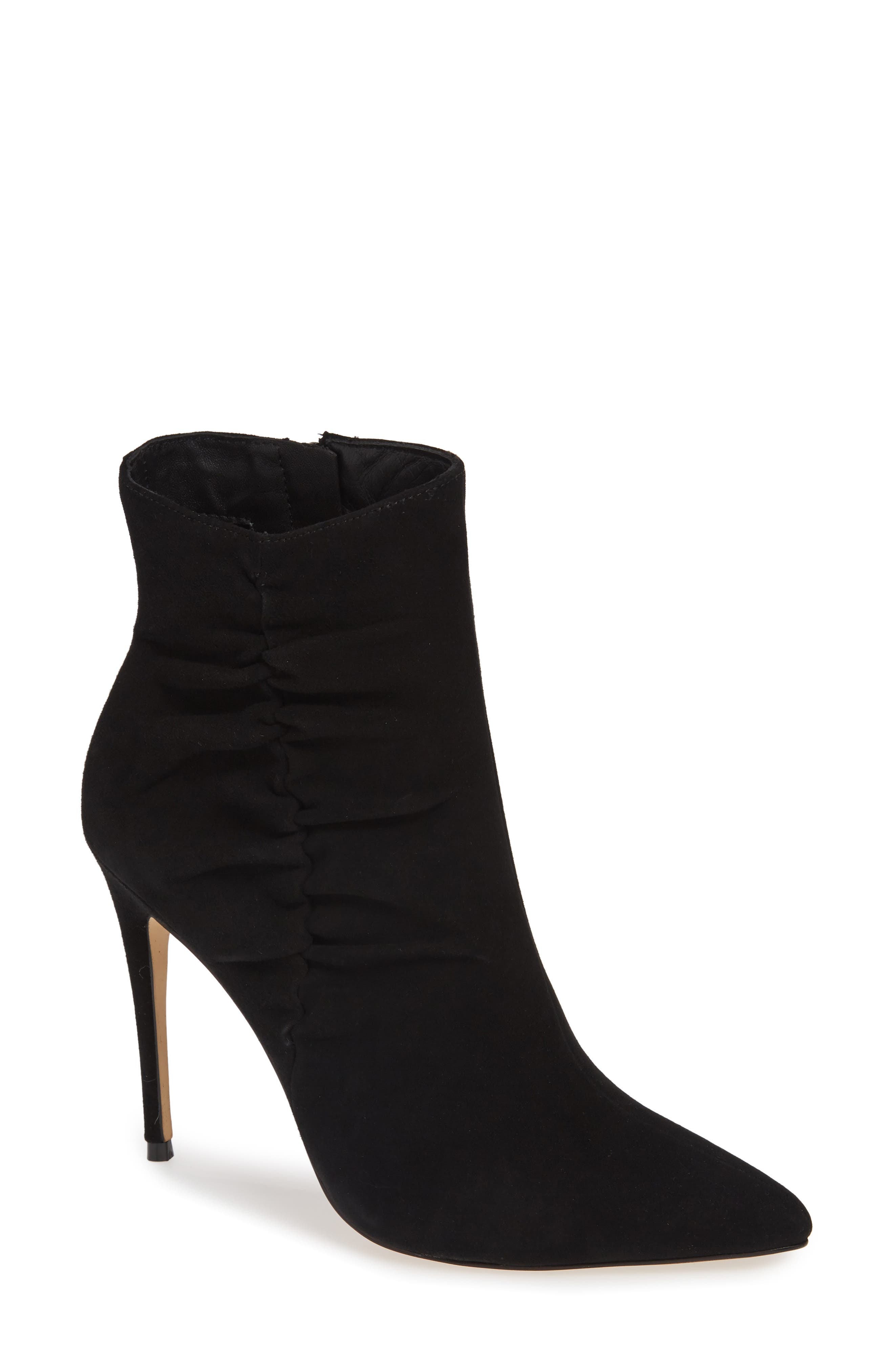 Arianna Ruched Bootie,                             Main thumbnail 1, color,                             BLACK SUEDE