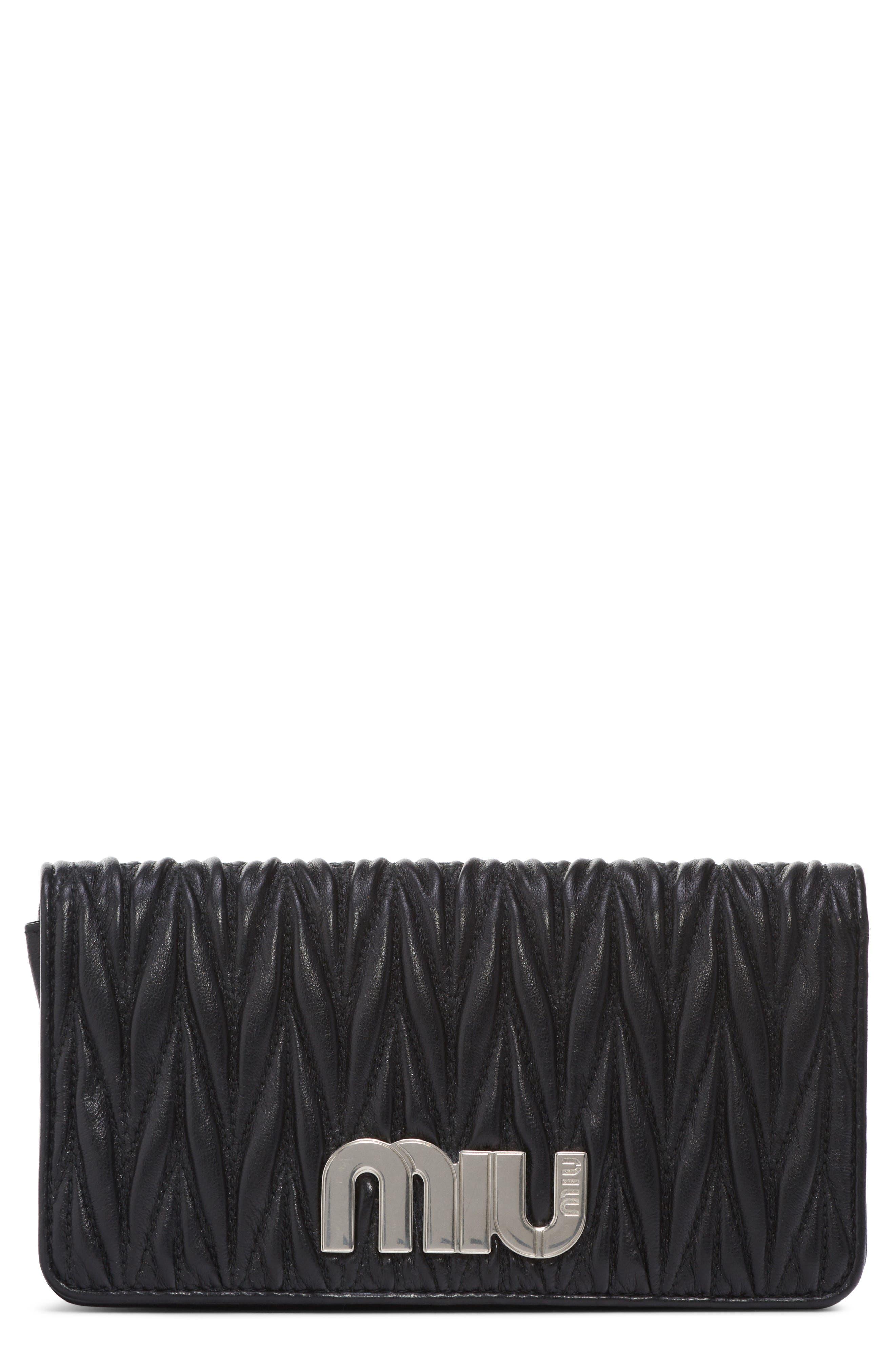 Matelassé Leather Wallet on a Chain,                         Main,                         color, NERO