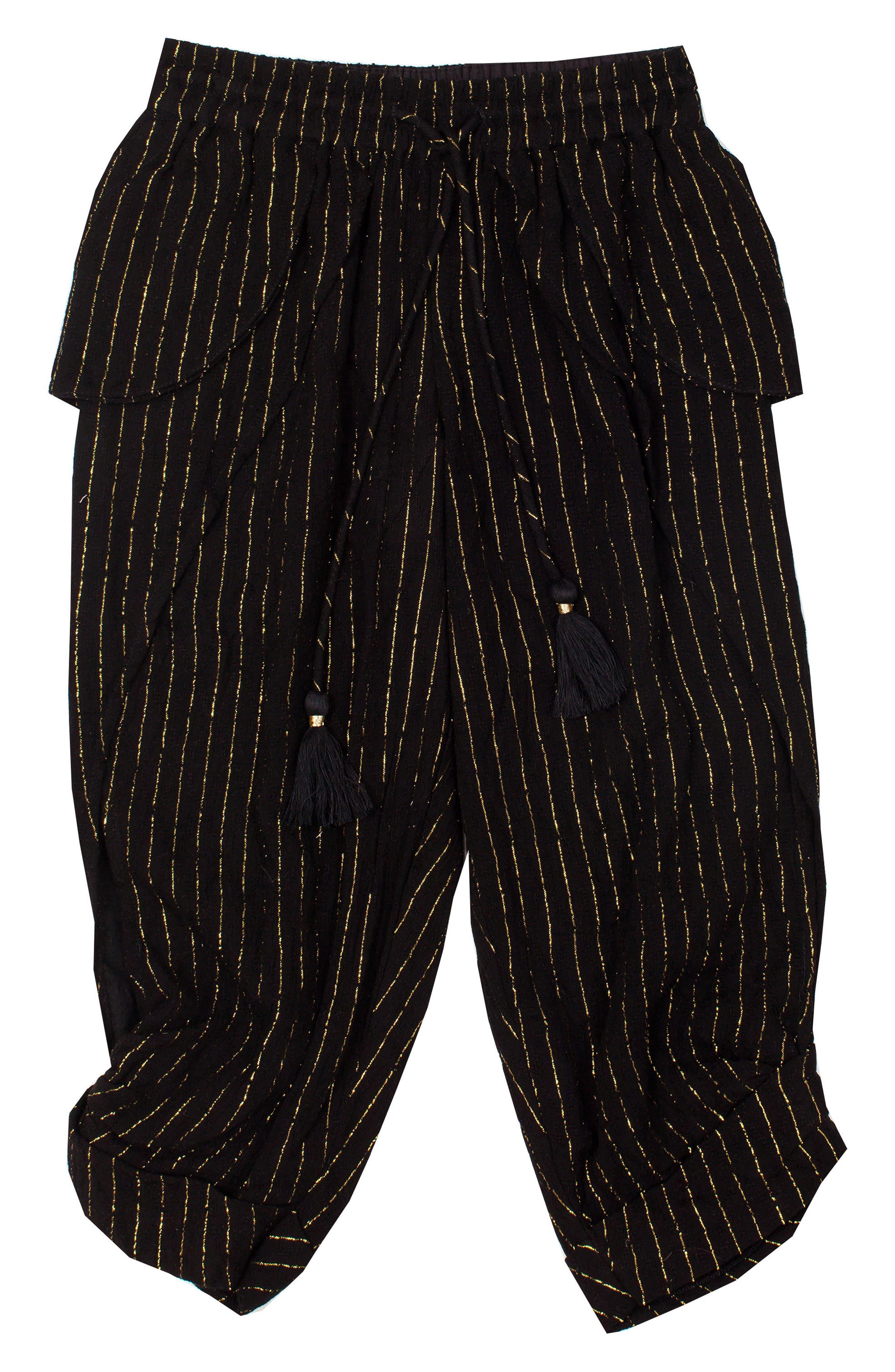 Crescent Moon Kicker Metallic Stripe Pants,                             Main thumbnail 1, color,                             BLACK