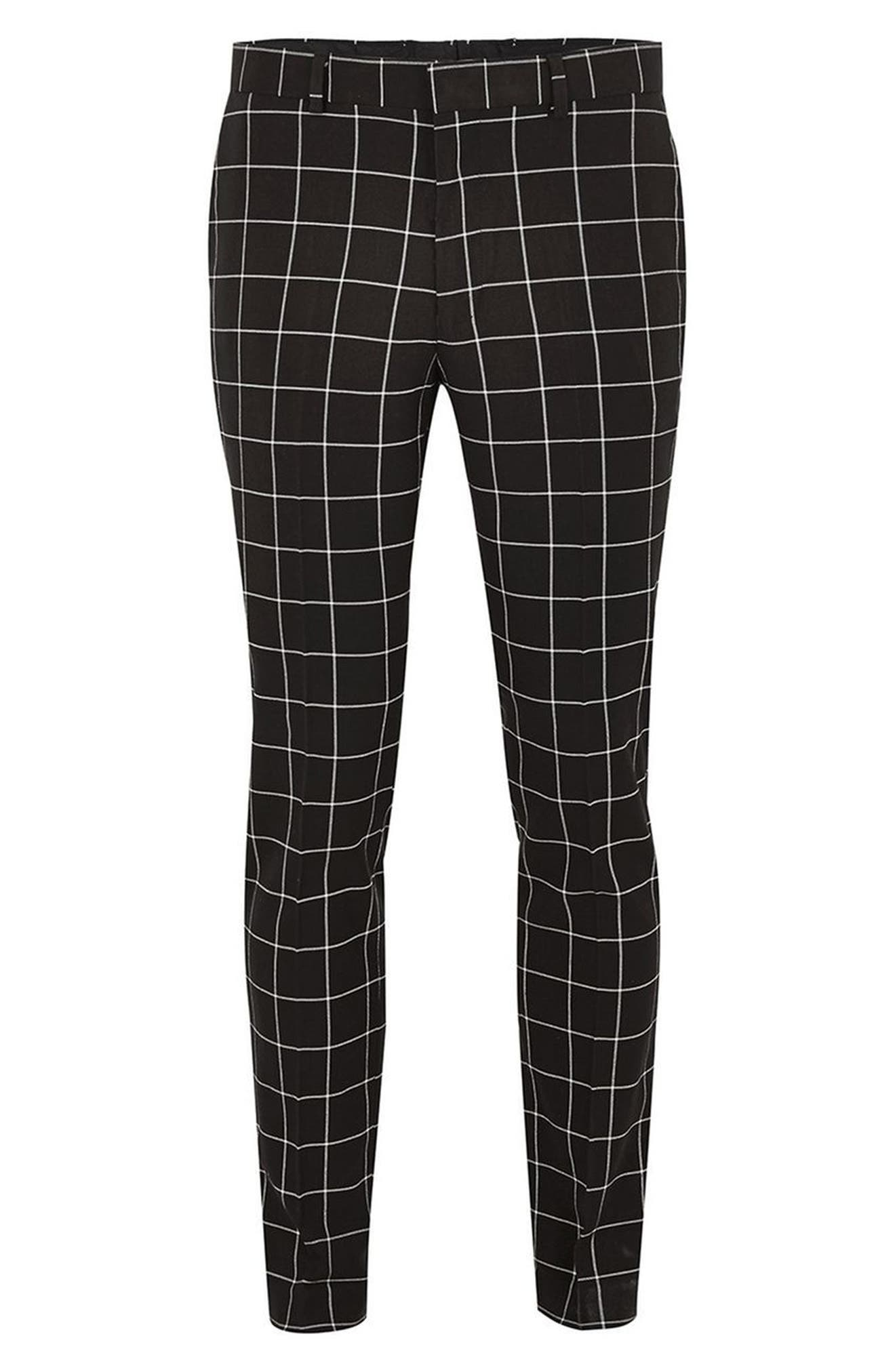 Skinny Fit Windowpane Suit Trousers,                             Alternate thumbnail 4, color,                             001
