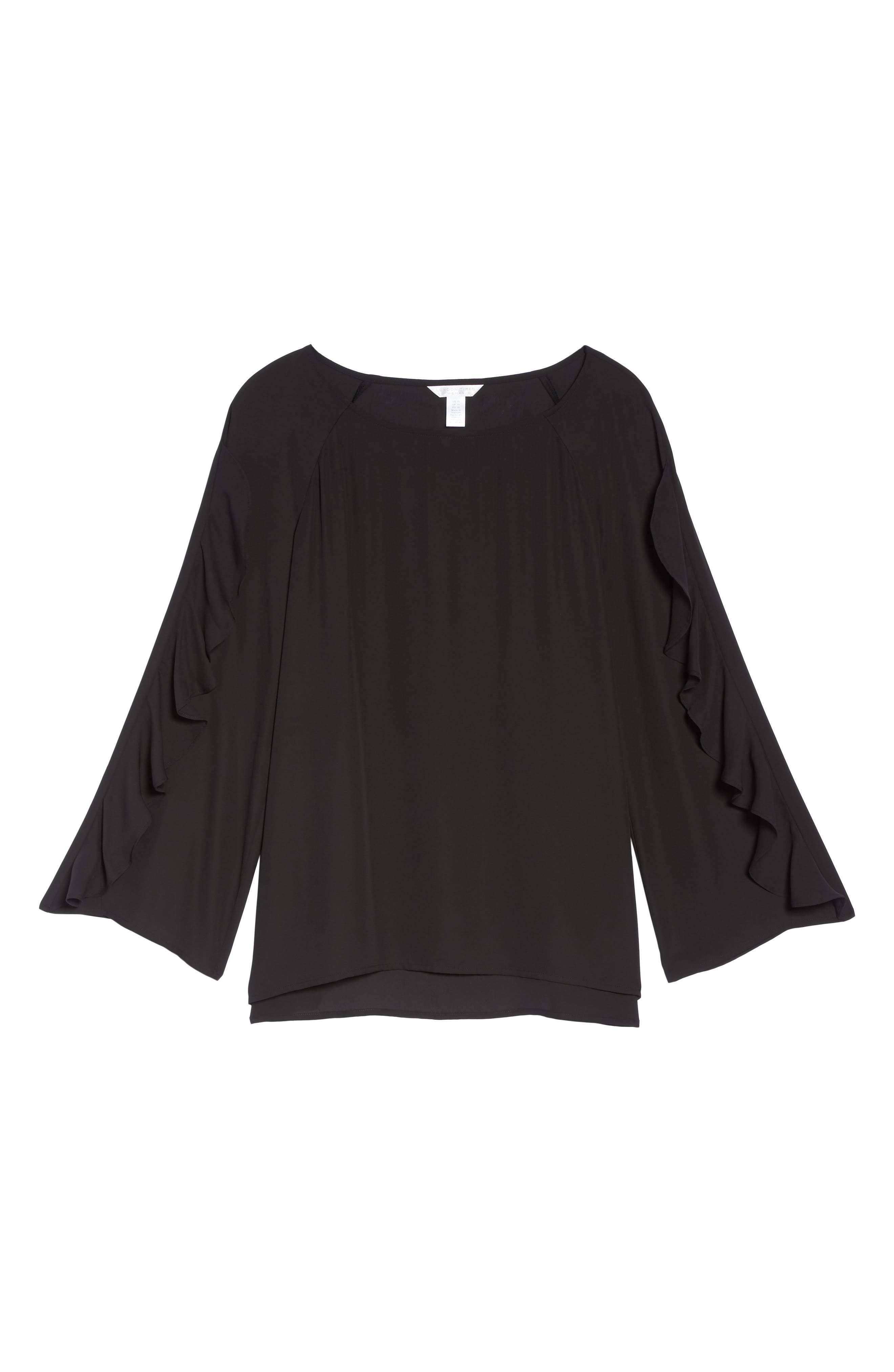 Ruffle Bell Sleeve Blouse,                             Alternate thumbnail 6, color,                             001