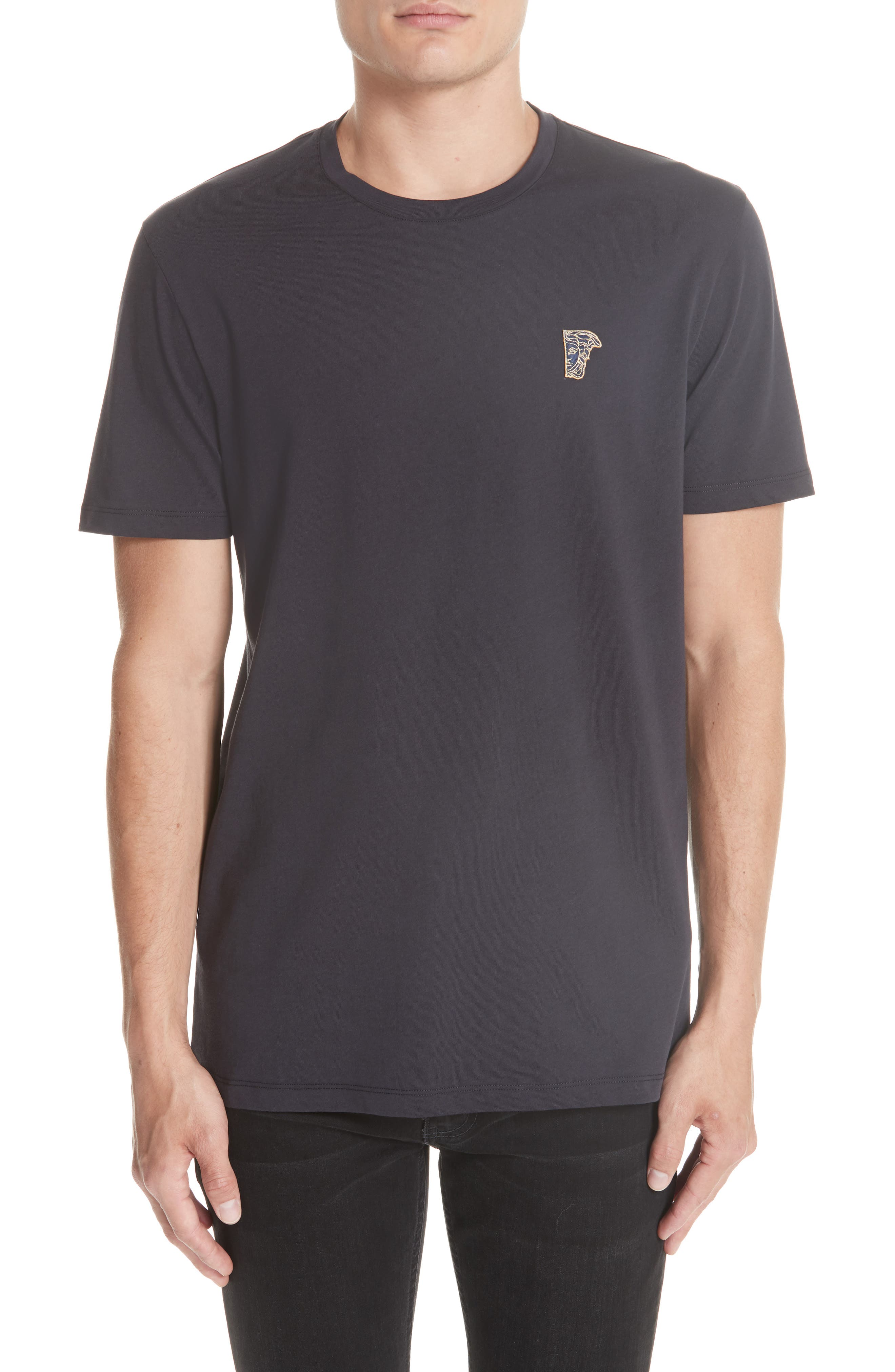 VERSACE COLLECTION Half Medusa Patch T-Shirt, Main, color, NAVY/ GOLD