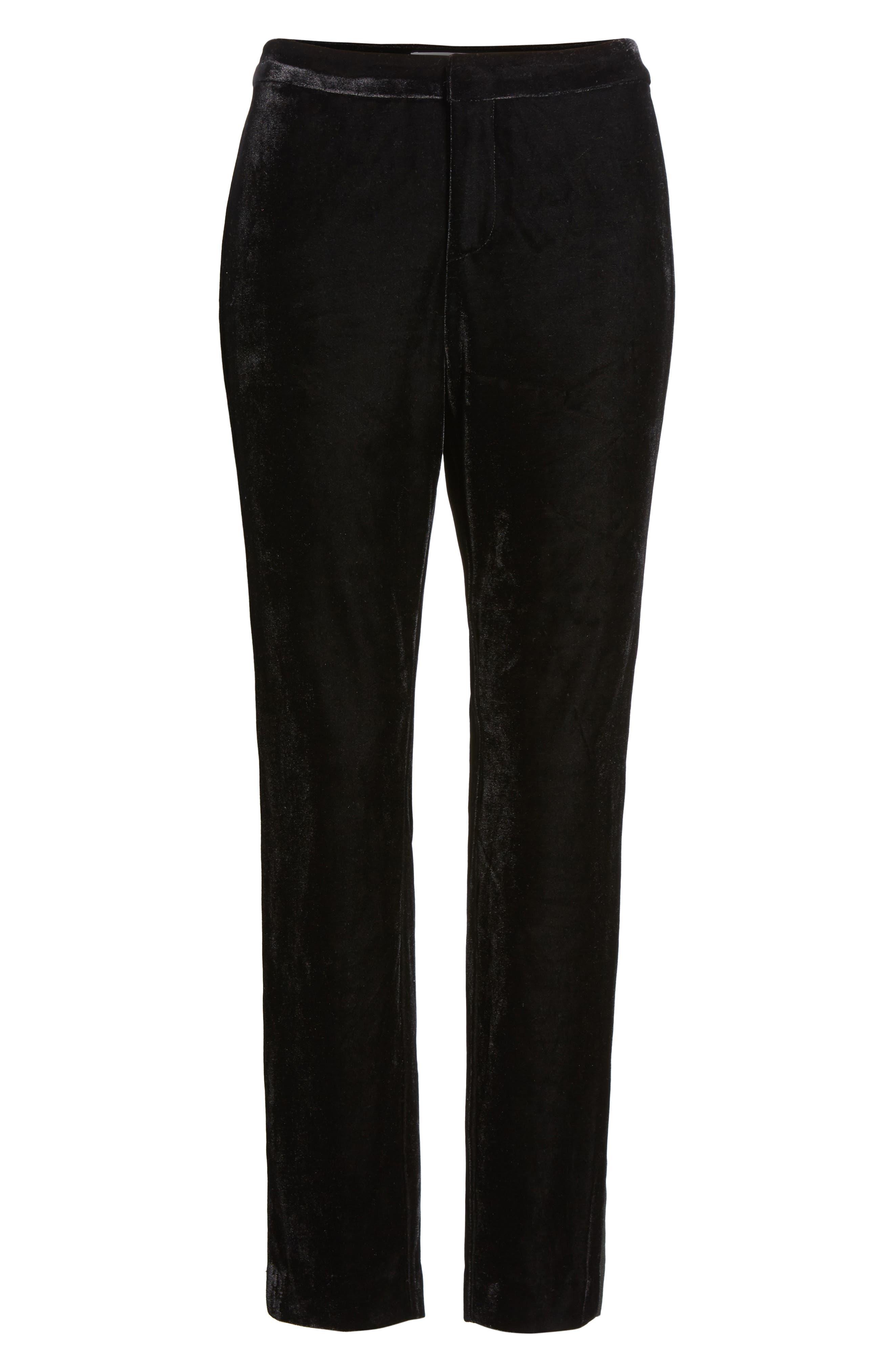 Evalina Velvet Crop Skinny Pants,                             Alternate thumbnail 6, color,                             001