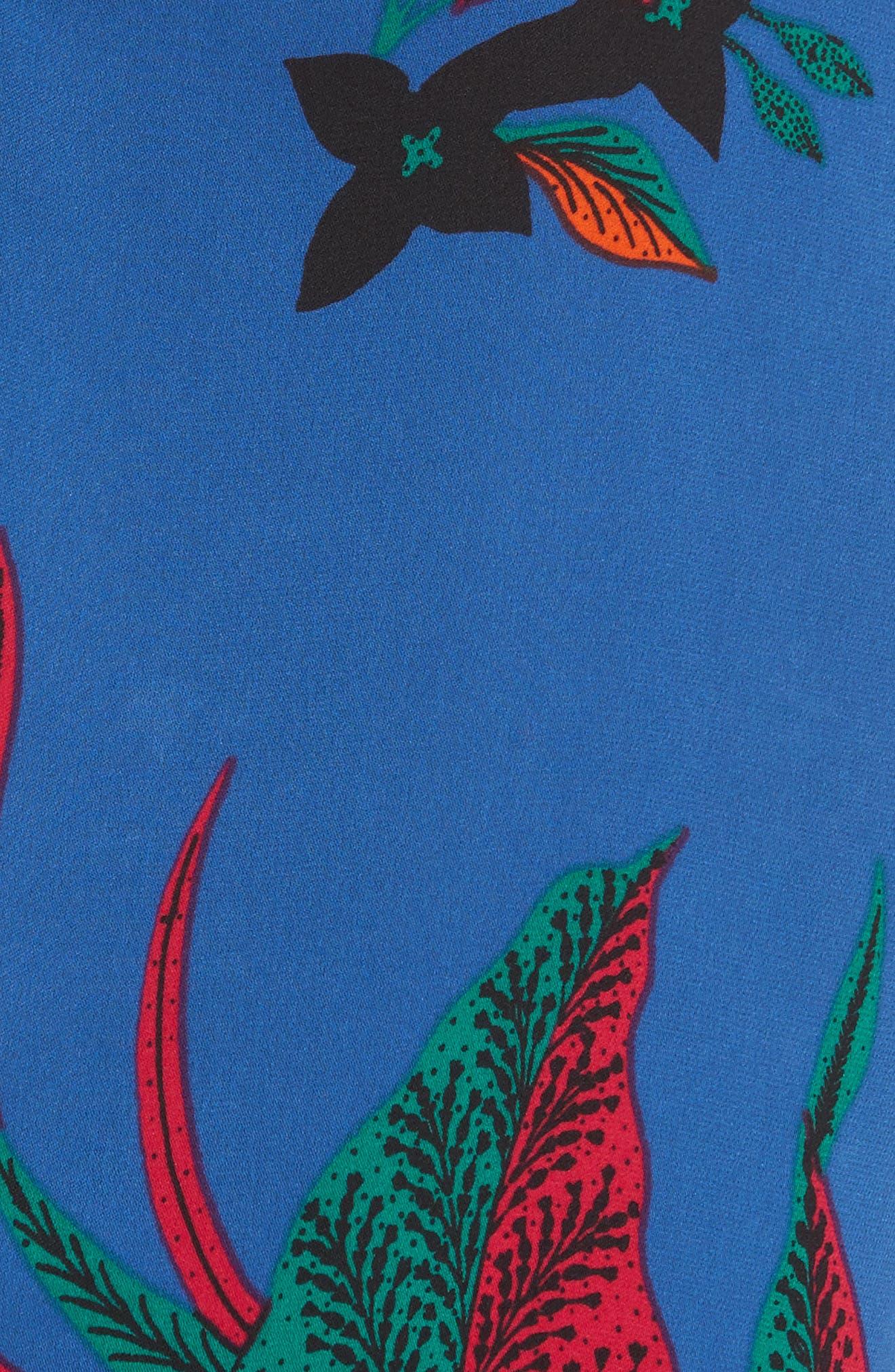 Diane von Furstenberg Floral Print Silk Shell,                             Alternate thumbnail 5, color,                             002