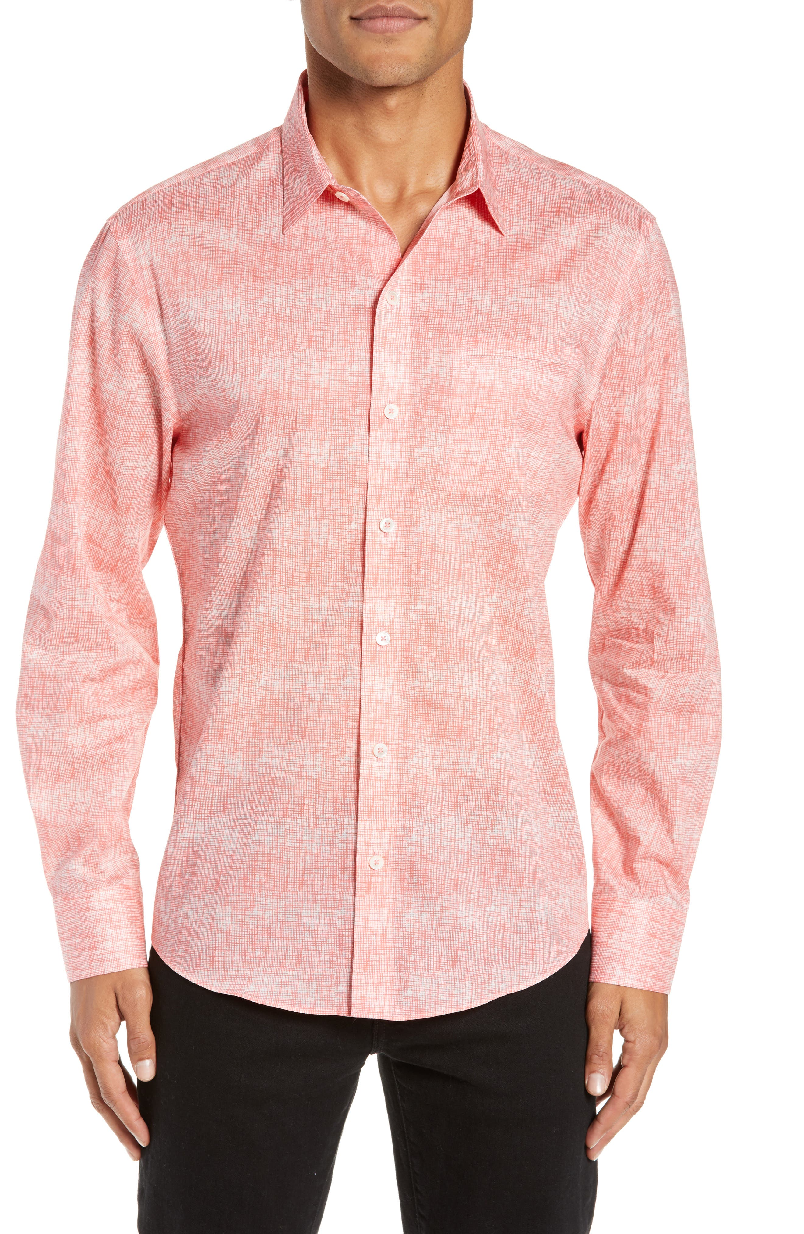 Griffin Regular Fit Sport Shirt,                             Main thumbnail 1, color,                             PINK