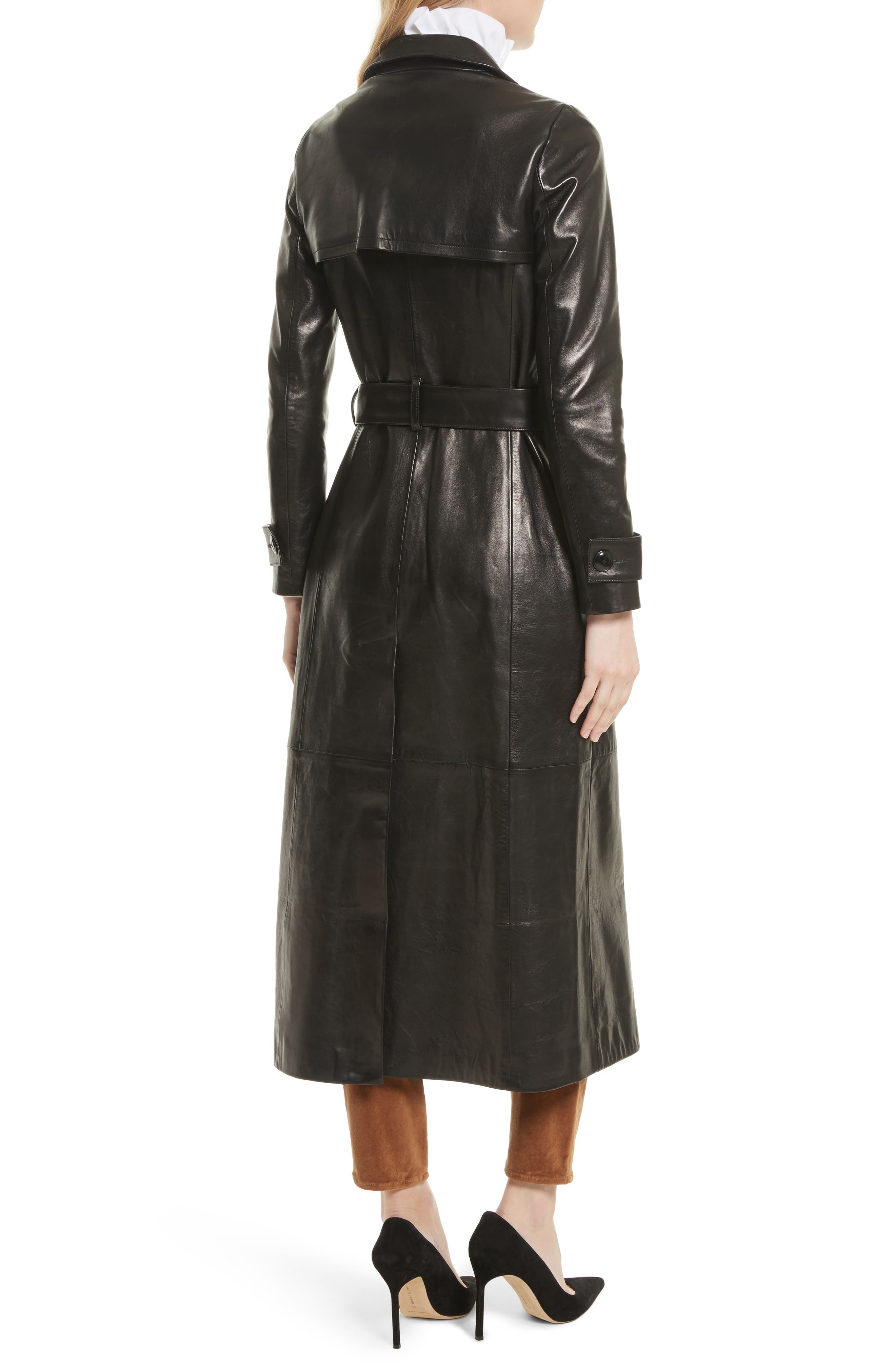 Leather Trench Coat,                         Main,                         color, 001