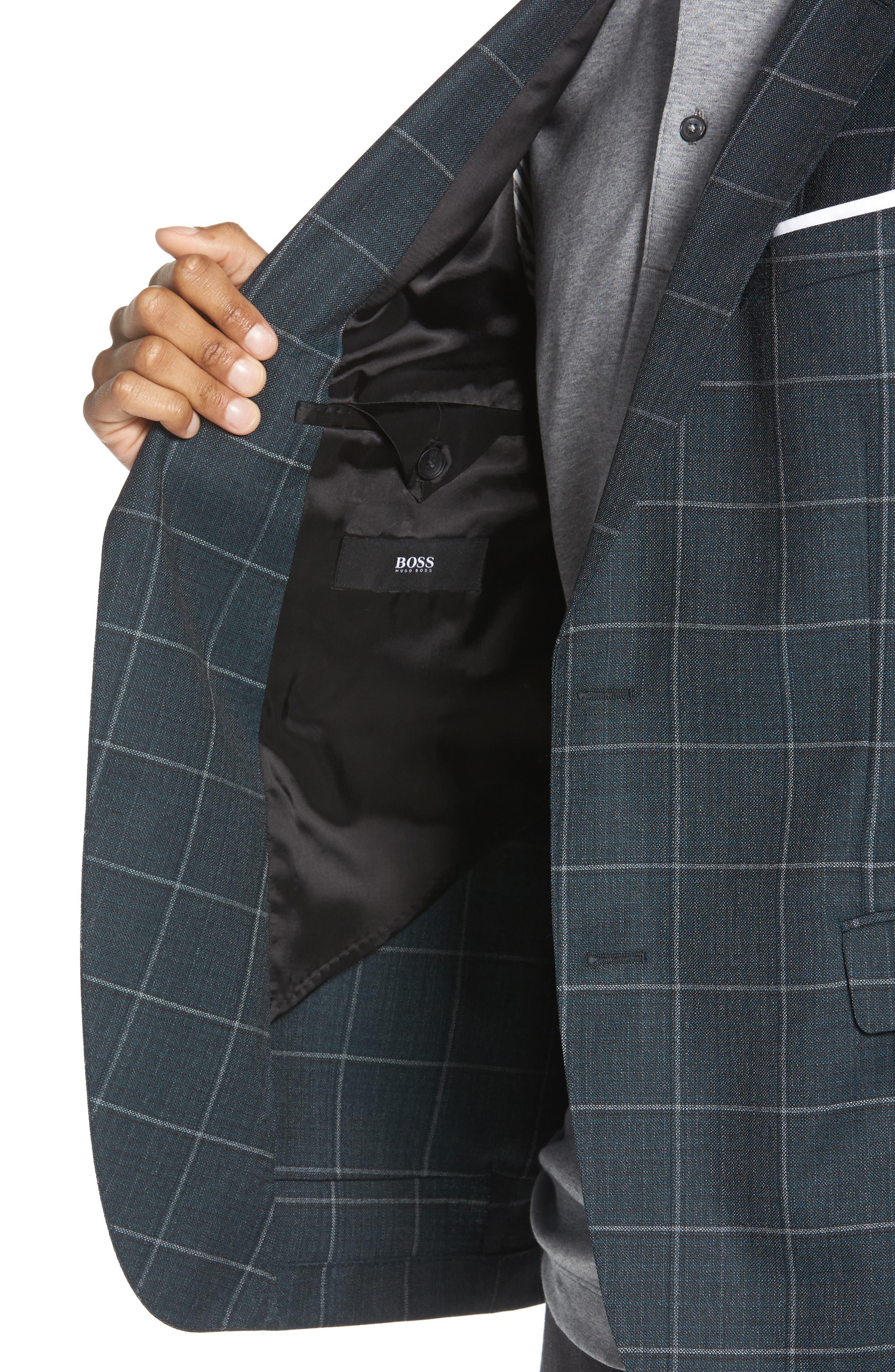 Nobis Trim Fit Windowpane Wool Sport Coat,                             Alternate thumbnail 4, color,                             MEDIUM GREEN