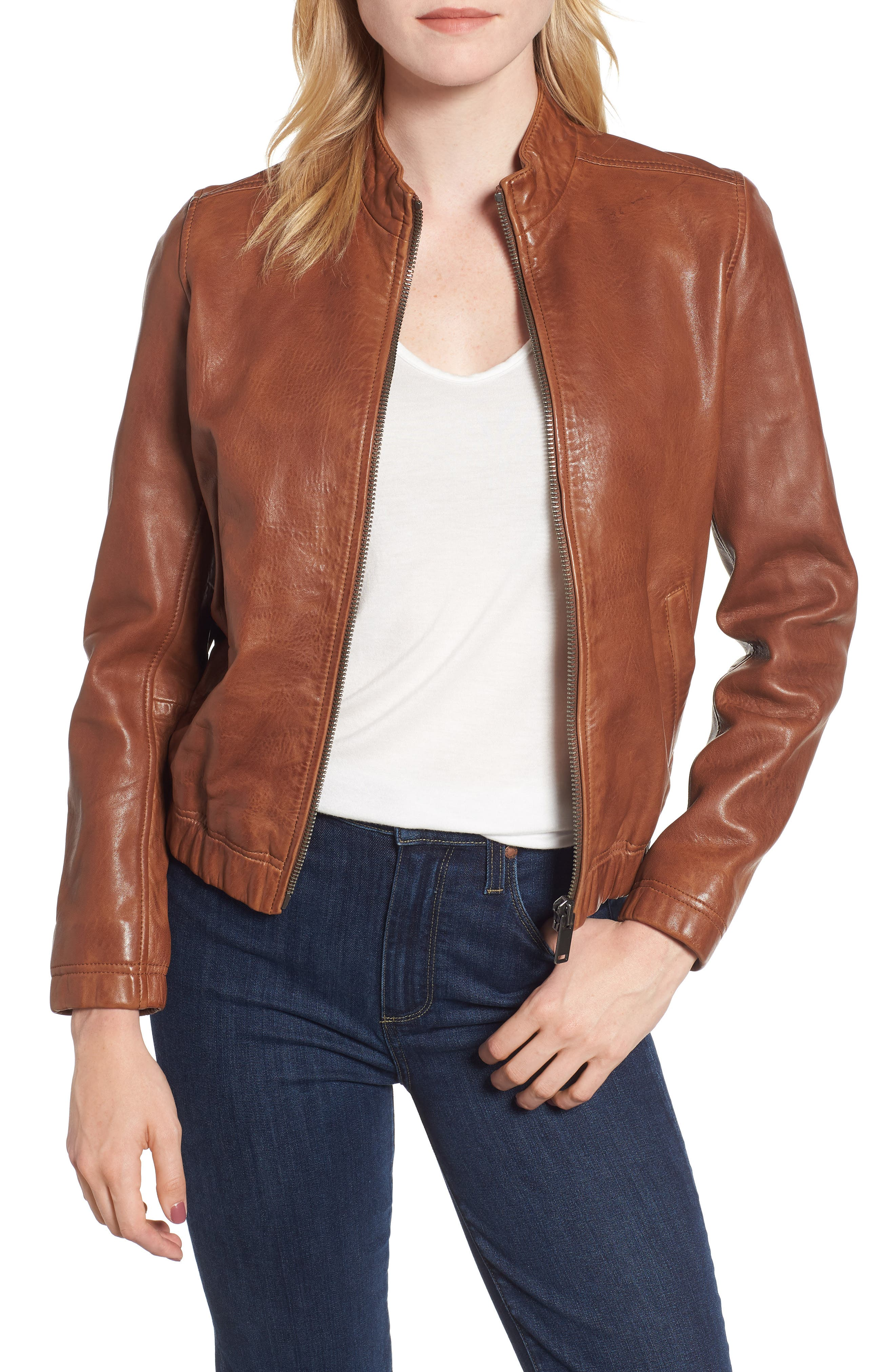 LUCKY BRAND Ana Leather Jacket, Main, color, 210