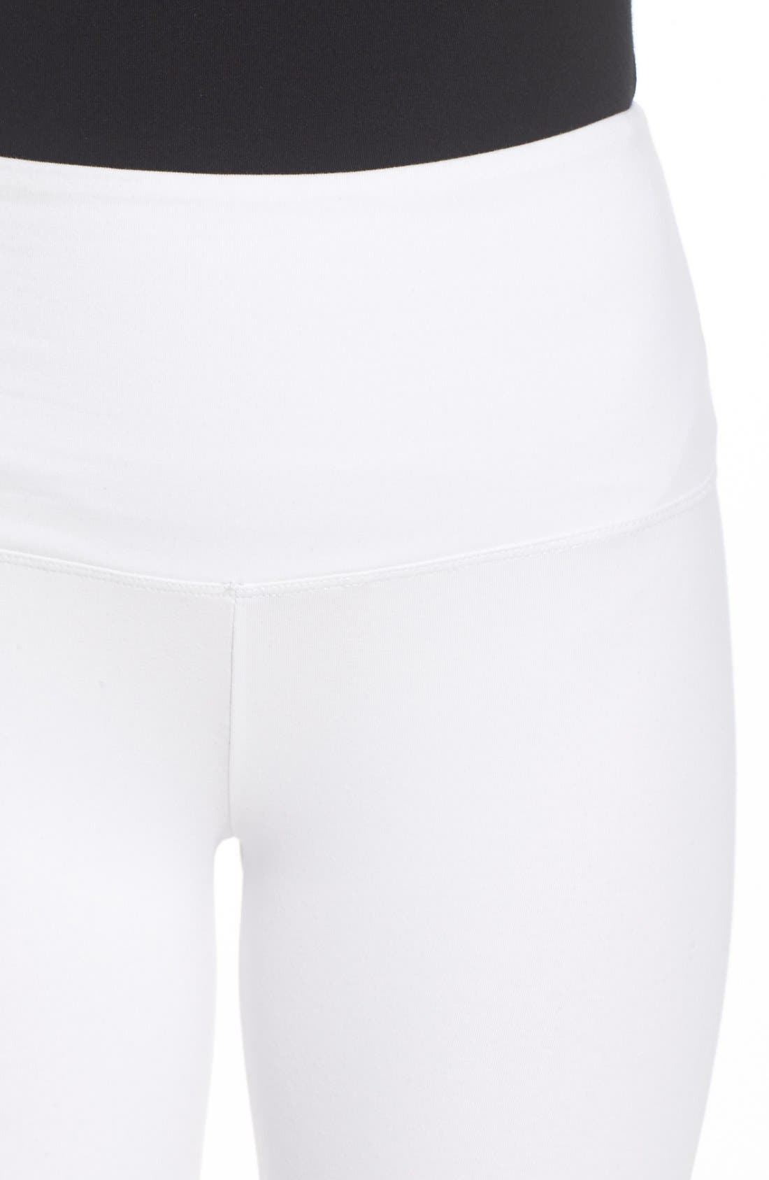 Control Top High Waist Capris,                             Alternate thumbnail 4, color,                             WHITE