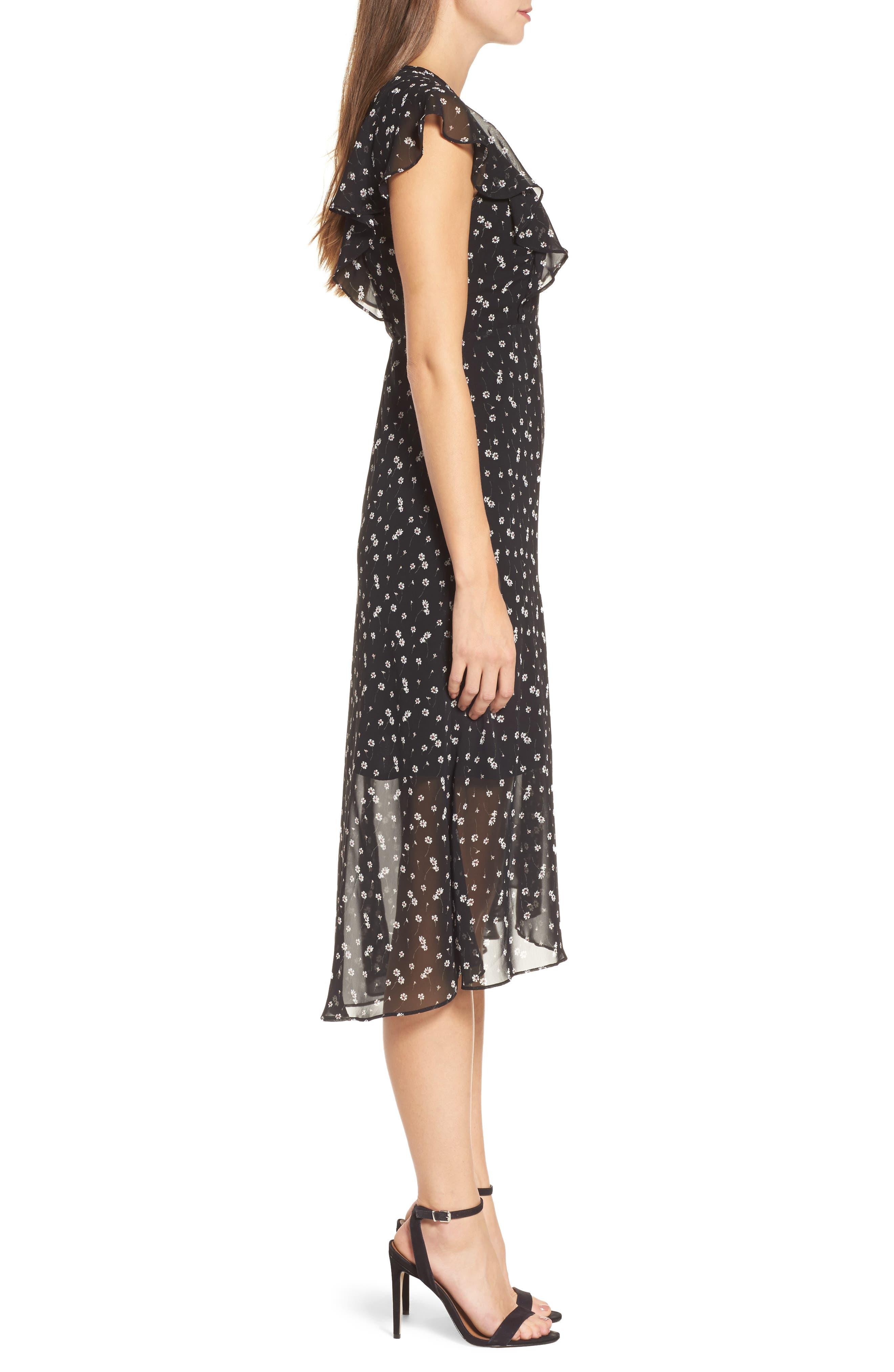 Leona Floral Print Midi Dress,                             Alternate thumbnail 3, color,