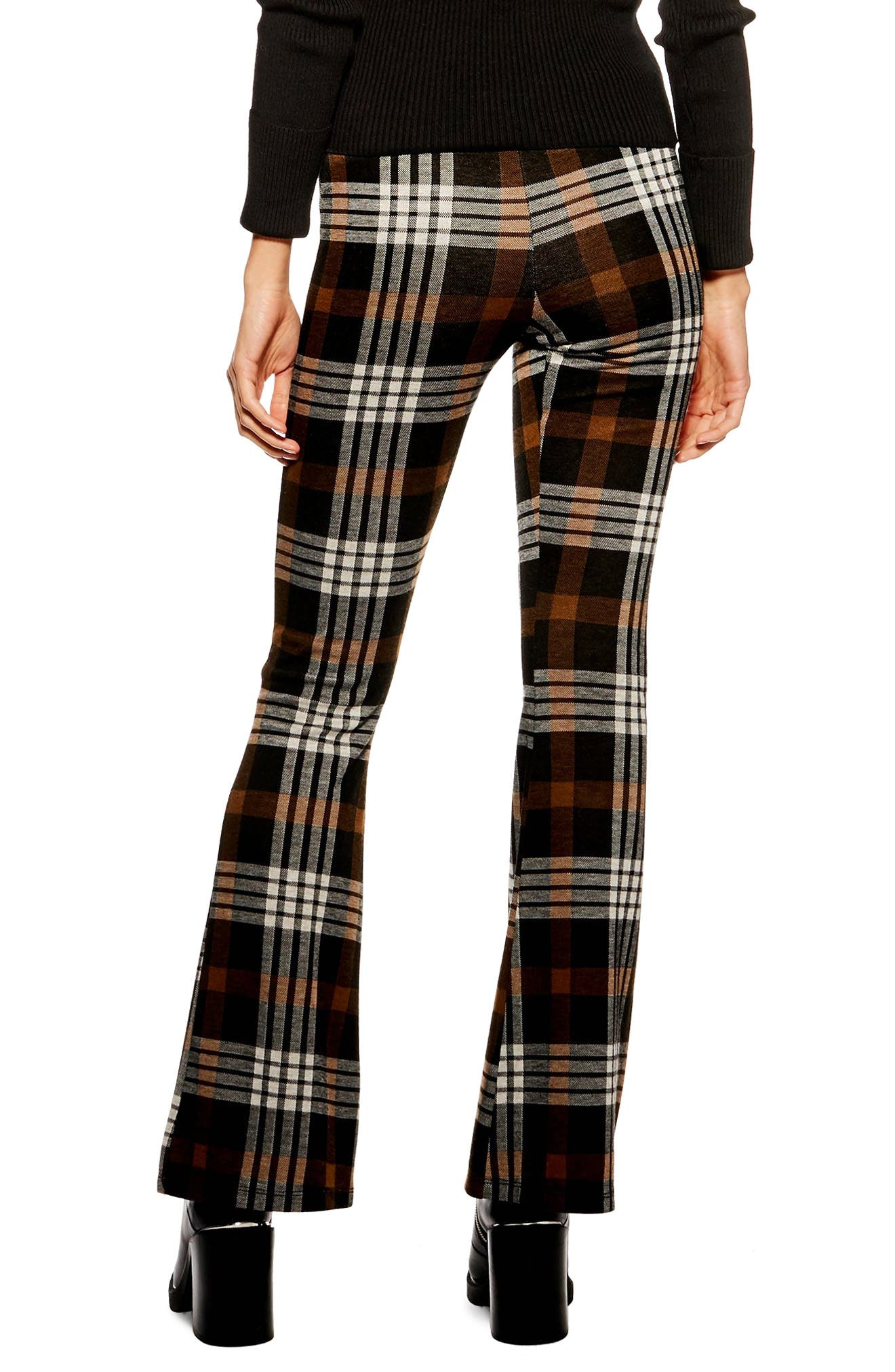 Plaid Flare Pants,                             Alternate thumbnail 2, color,                             BROWN MULTI