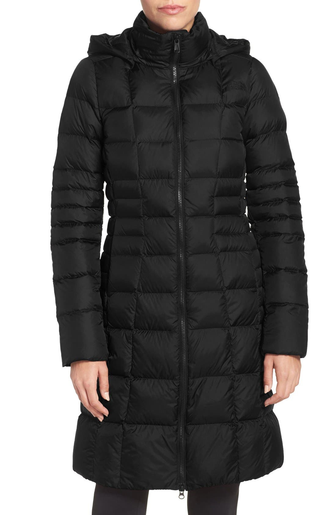 'Metropolis II' Hooded Water Resistant Down Parka,                             Main thumbnail 1, color,                             TNF BLACK